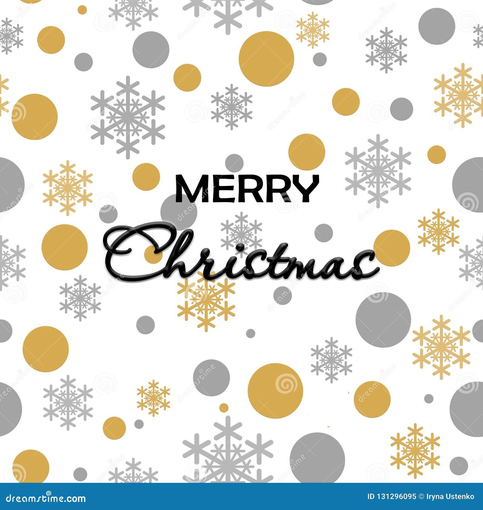 Nieve gris del oro inconsútil del modelo que cae en el fondo blanco con feliz Christmass Gray Snowflakes de oro Fondo para su Chr