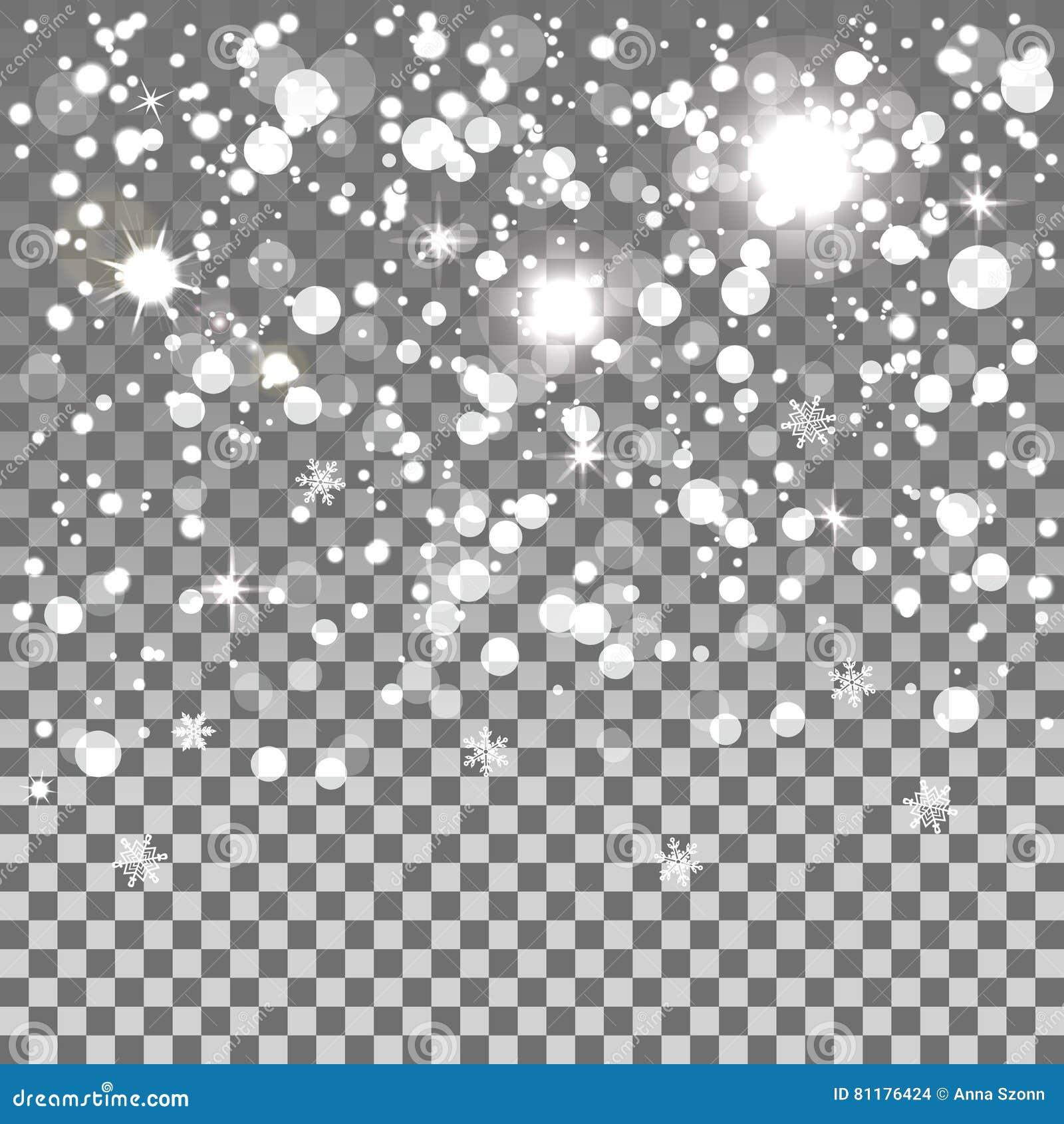 Nieve que cae aislada en un fondo transparente