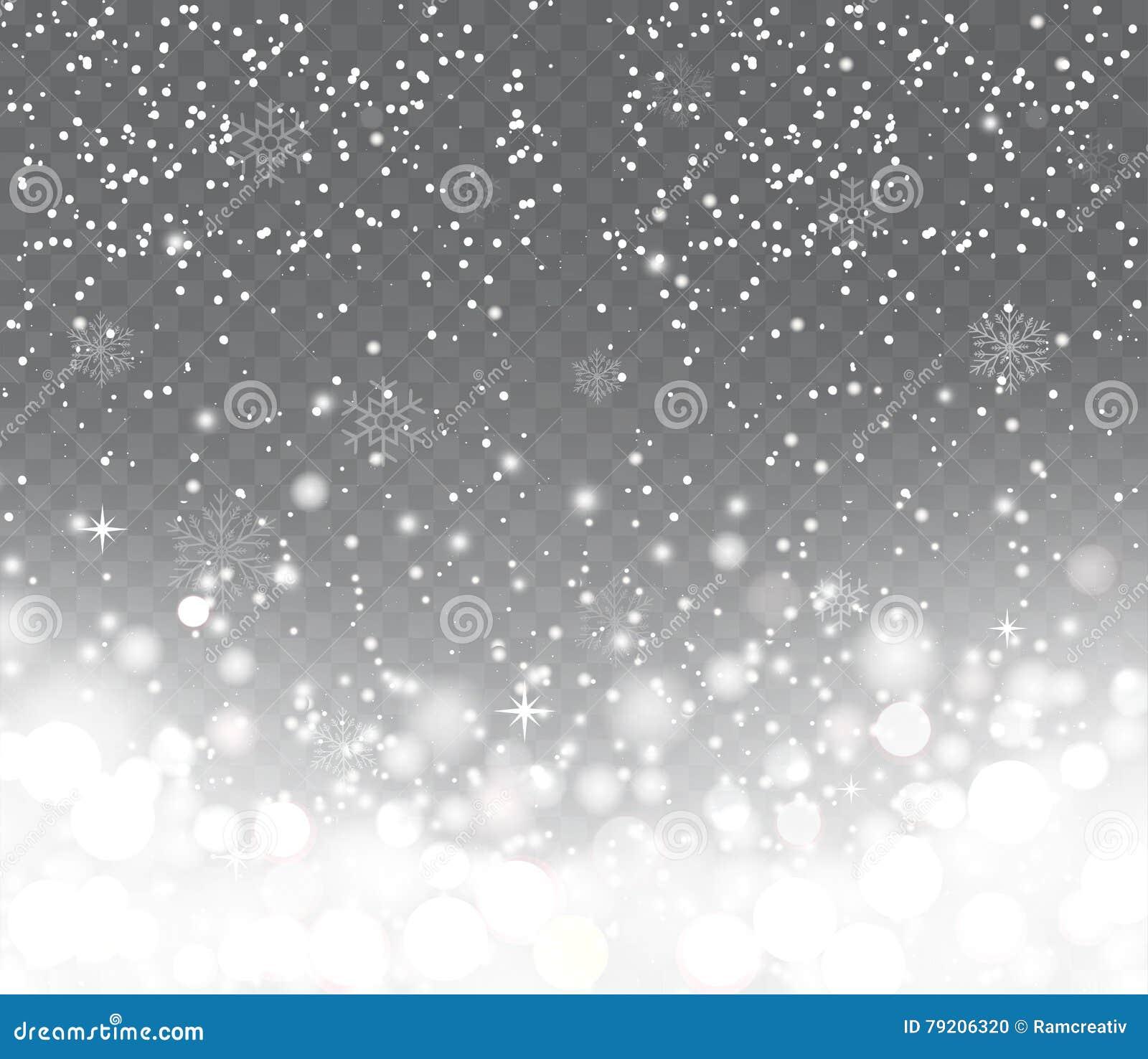 Nieve que cae con los copos de nieve en fondo transparente