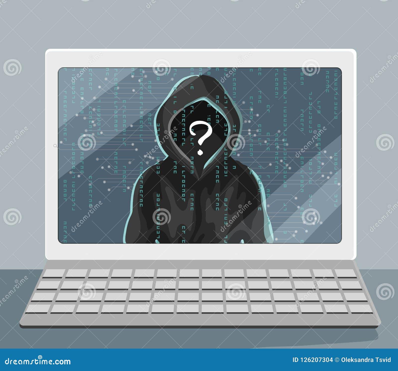 Niewiadoma istota ludzka w kapiszonie na laptopu ekranie Siekać i ochrony problem