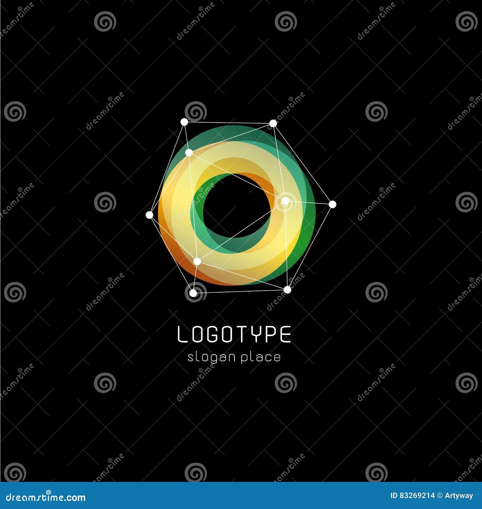 Niezwykły abstrakcjonistyczny geometryczny kształta wektoru logo Kurenda, poligonalni kolorowi logotypy na czarnym tle