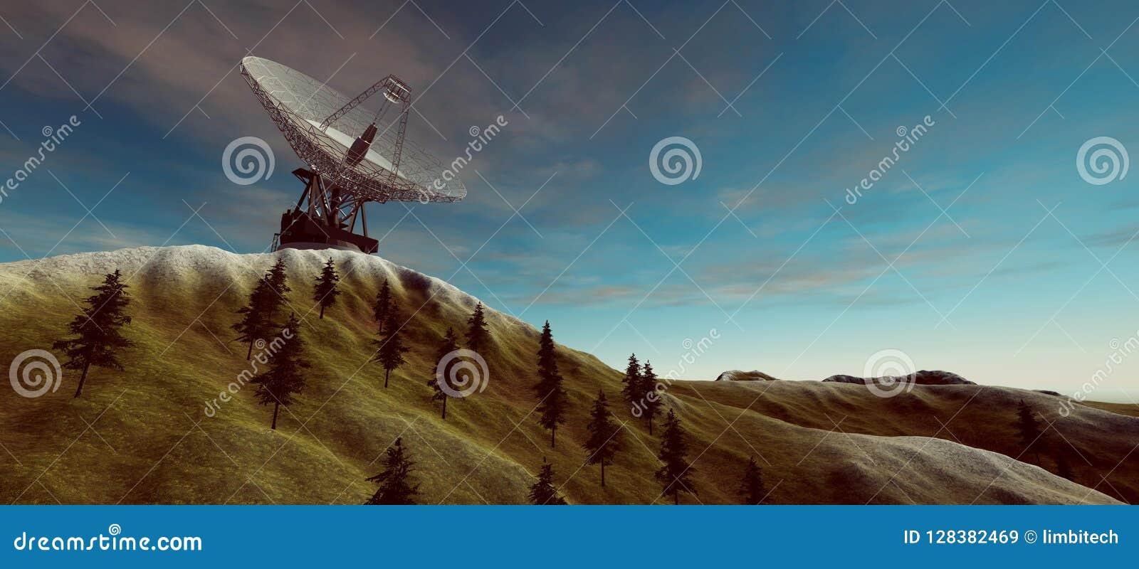 Niezwykle realistyczna i szczegółowa wysoka rozdzielczość 3d ilustracja duża komunikacyjna antena satelitarna Elementy ten wizeru