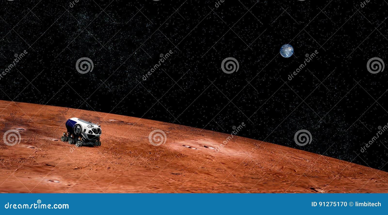 Niezwykle realistyczny i szczegółowy wysoka rozdzielczość 3D wizerunek eksploracja przestrzeni kosmicznej pojazd na Mars Strzelaj