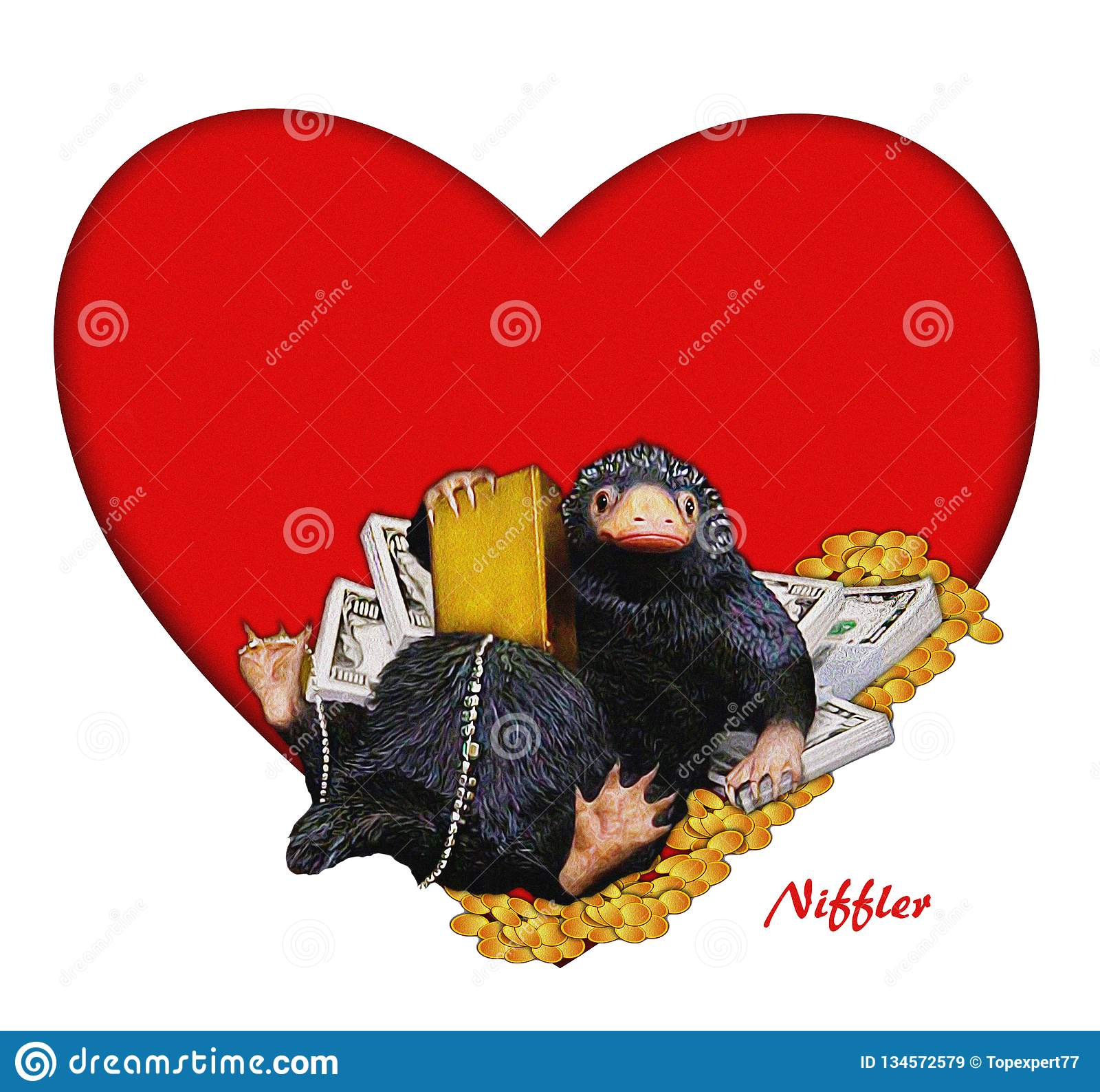 Niffler, ejemplo cómico, divertido, lindo a Niffler y dinero y corazón Imagen con el contexto rojo del corazón Ejemplo de la tarj