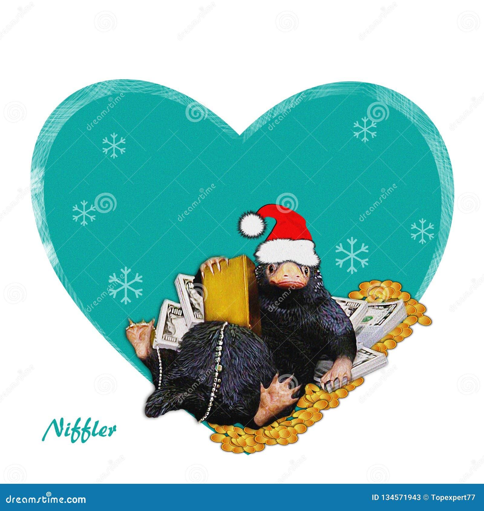 Niffler, Santa, komiczka, ilustracja & pieniądze -, śmieszna, śliczna, Niffler Wizerunek na zimie, nowego roku tło Bożenarodzenio
