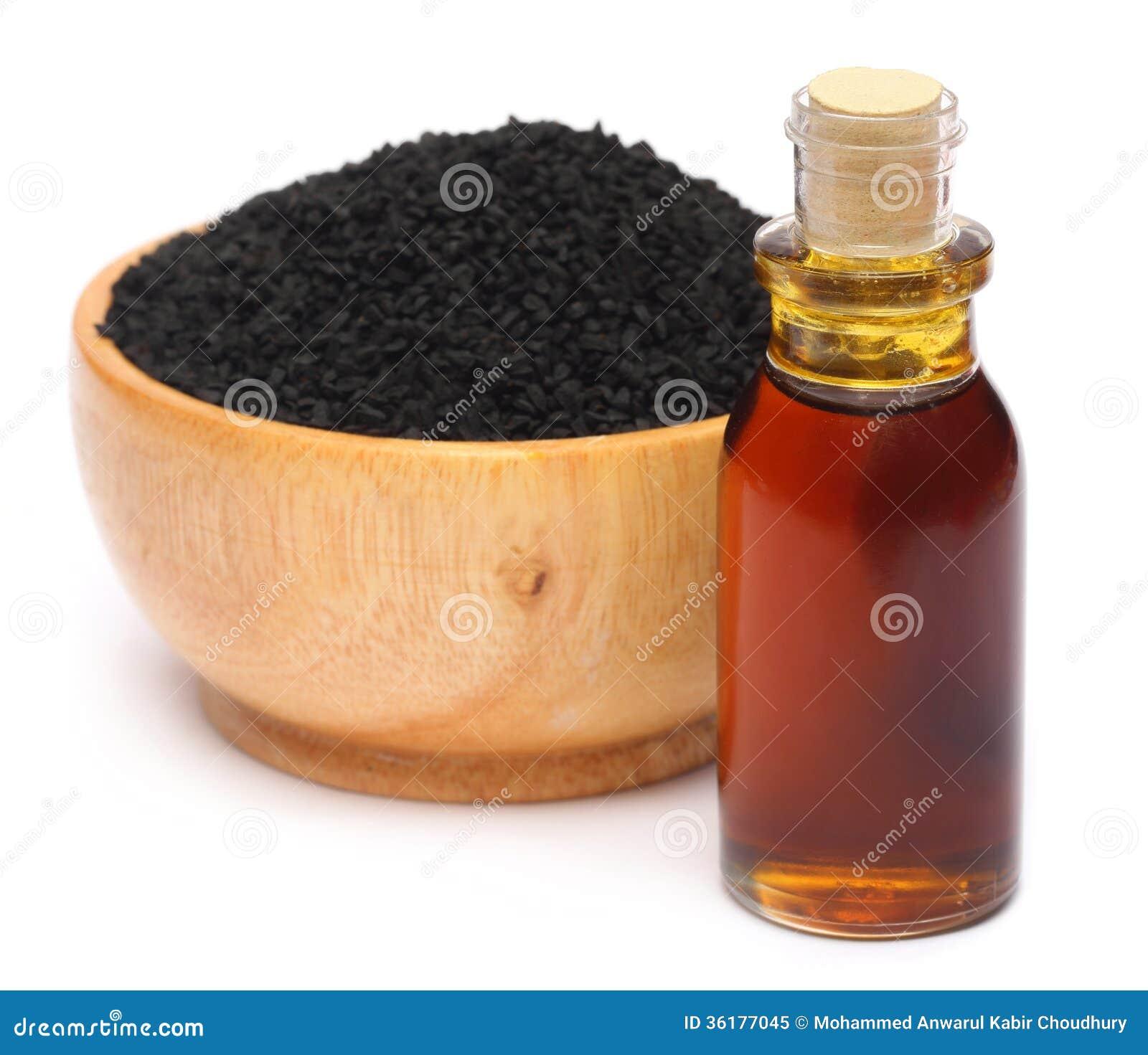 Nigella sativa eller svart spiskummin med nödvändig olja