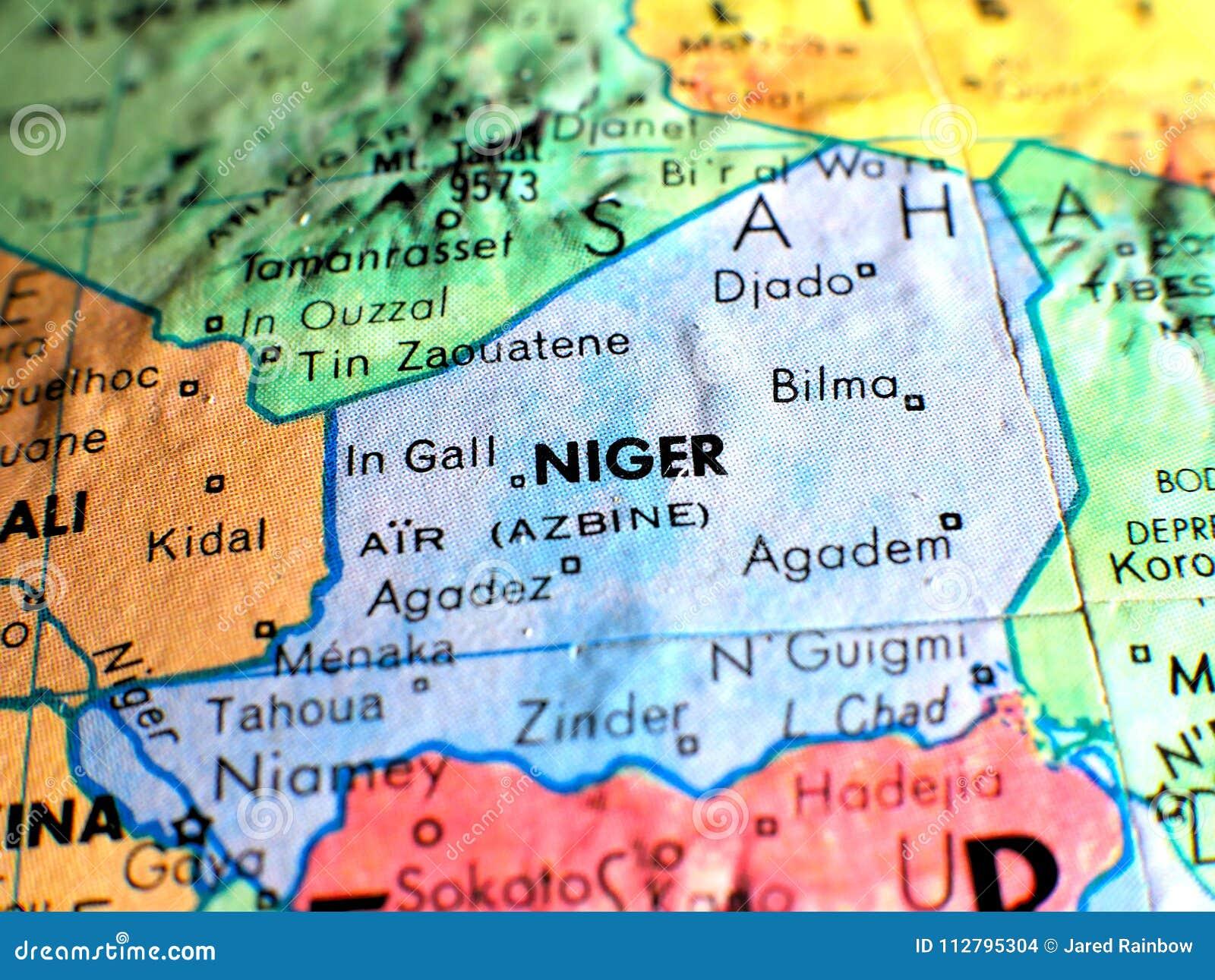 Niger Africa Focus Macro Shot On Globe Map For Travel Blogs Social