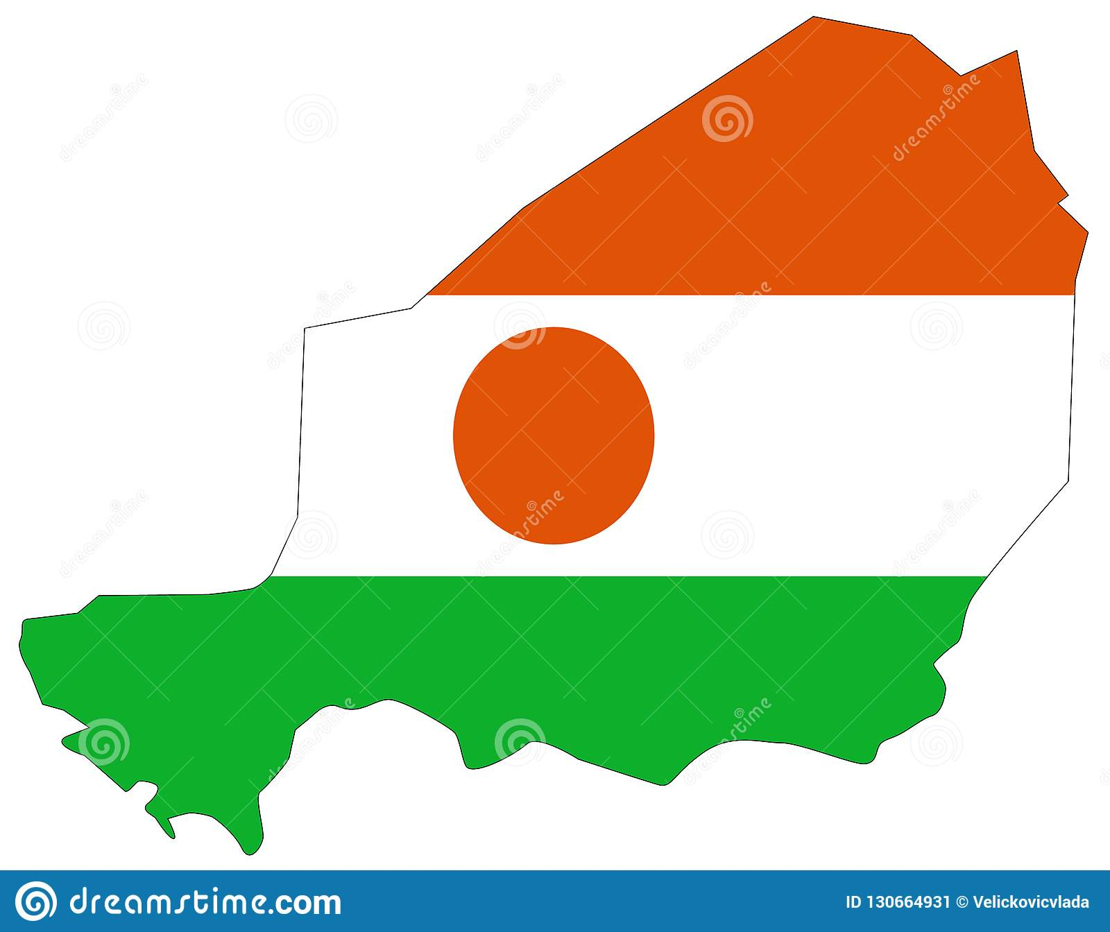 Niger Flag And Map   Country In West Africa Named After The Niger