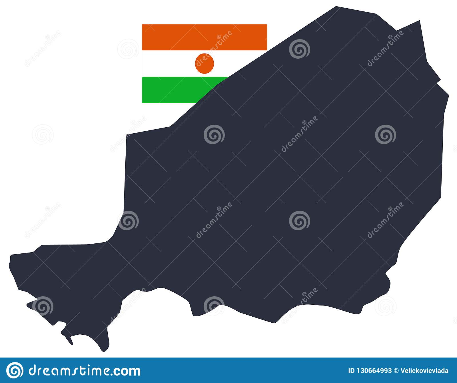 Niger Flag And Map - Country In West Africa Named After The Niger ...