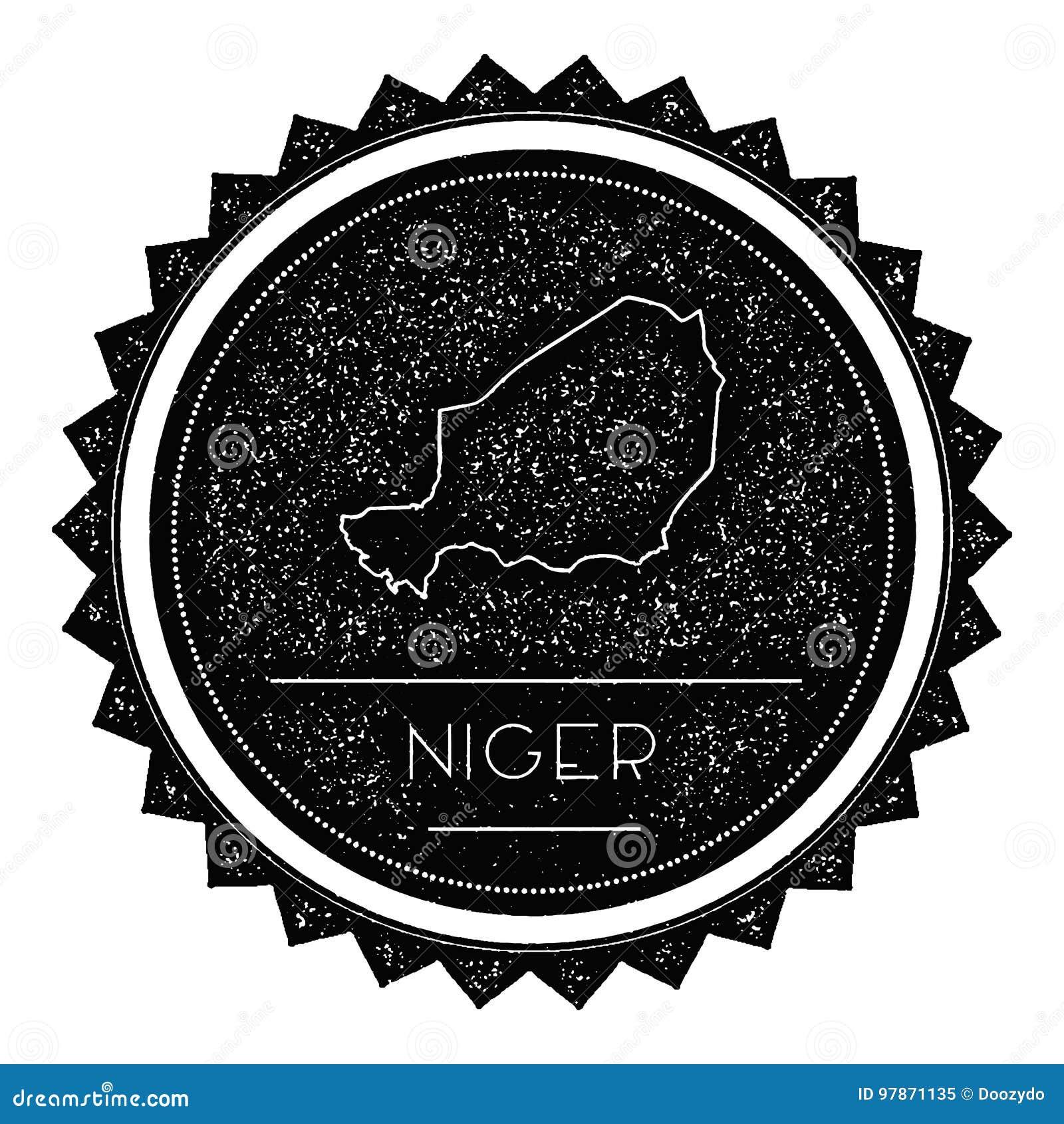 Niger Map Label com vintage retro projeto denominado