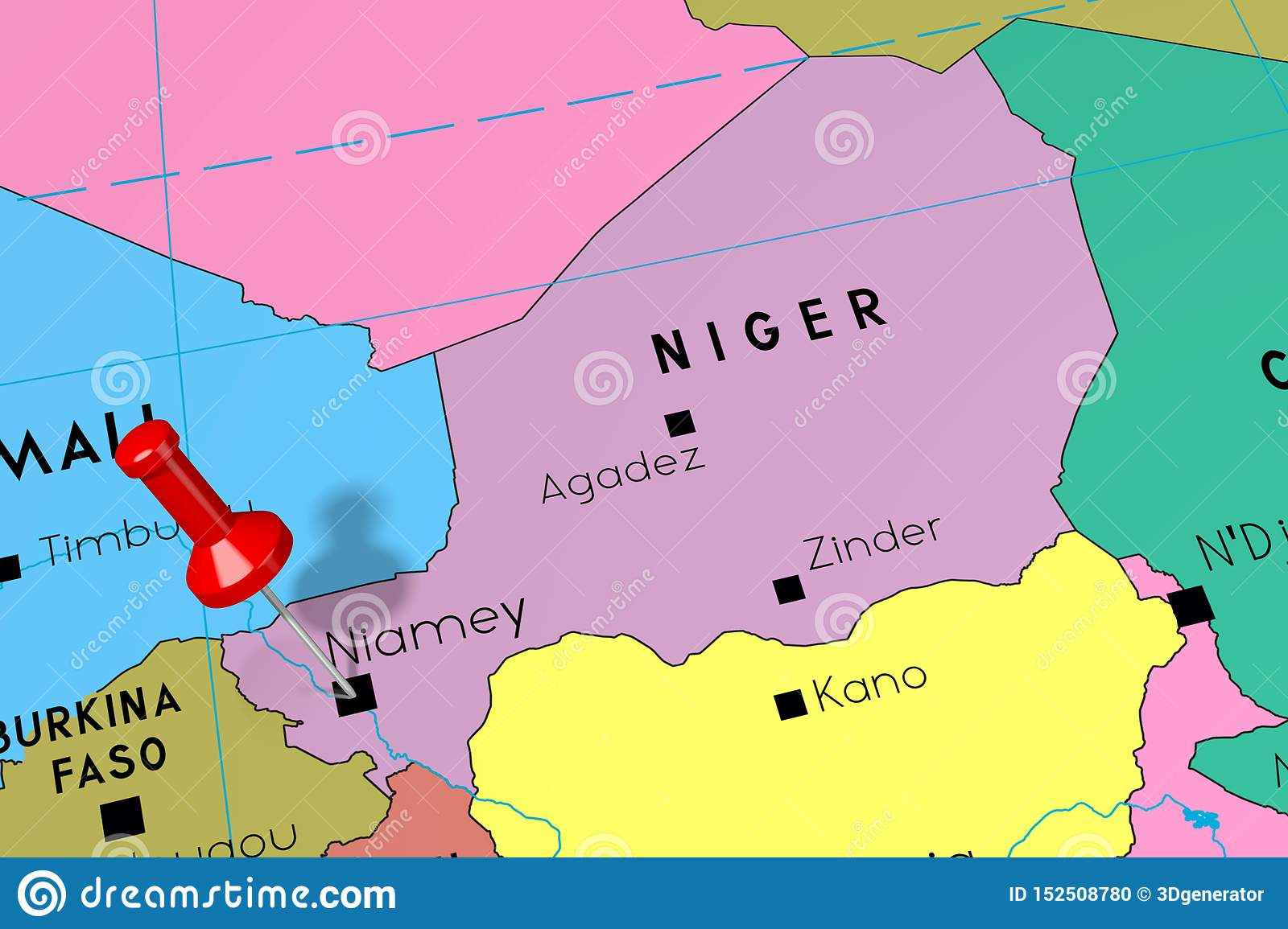 Niger, Niamey - Capital City, Pinned On Political Map Stock ...