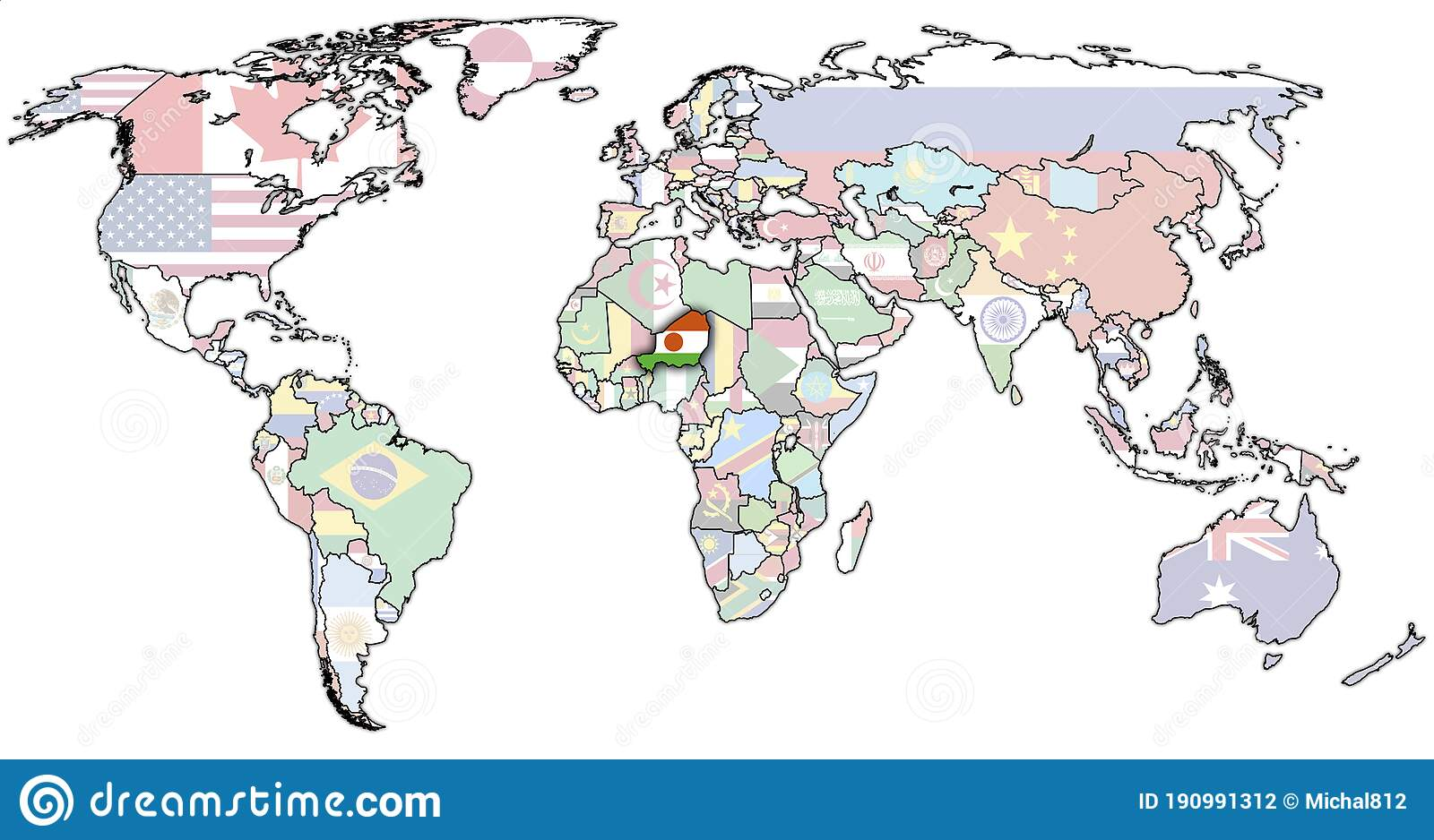 Picture of: Niger On World Map Stock Illustration Illustration Of Drop 190991312