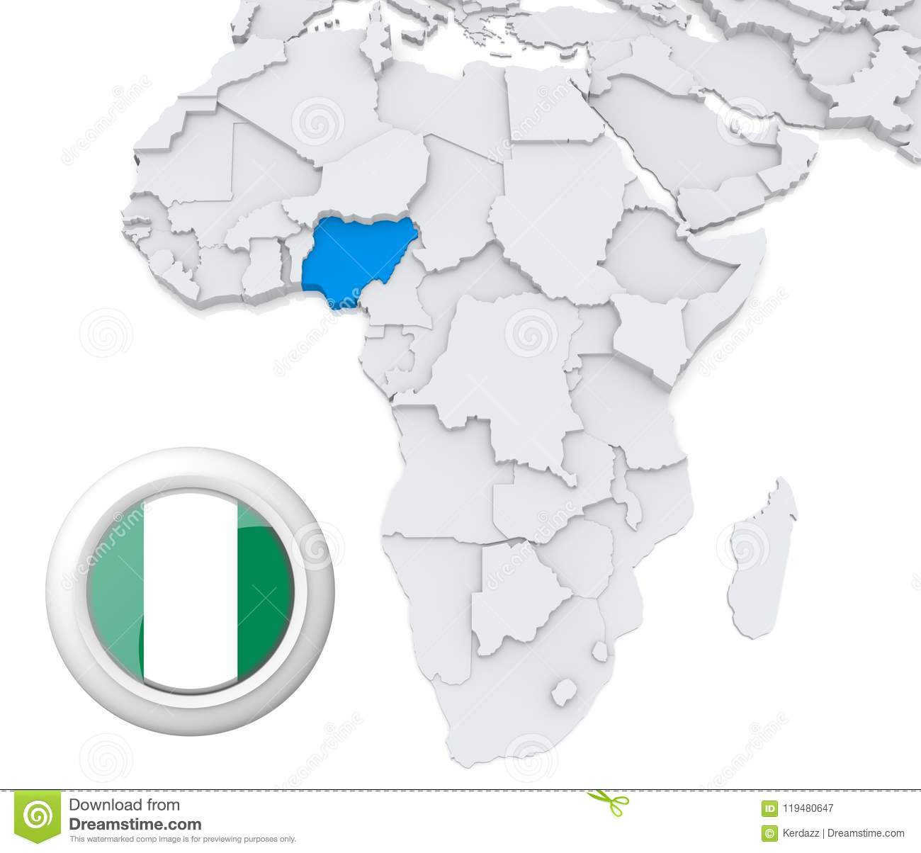 Africa Map Nigeria.Nigeria On Africa Map Stock Illustration Illustration Of School