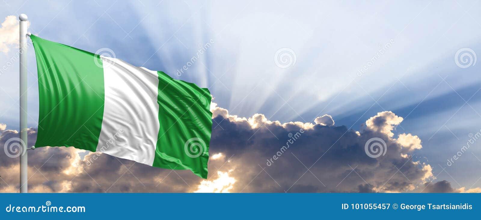Download Nigeria Flag On Blue Sky. 3d Illustration Stock Illustration - Illustration of lone, fabric: 101055457