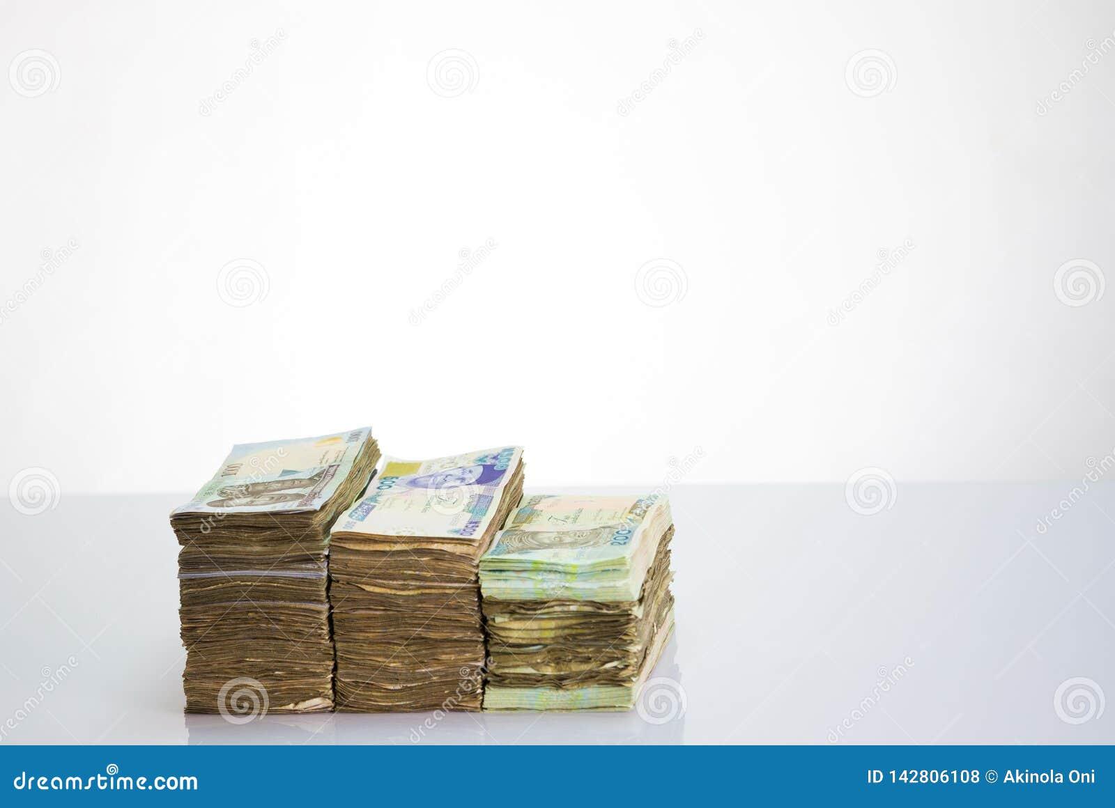 Nigeria local currency N1000 , N500, N200 naira notes in a bundle