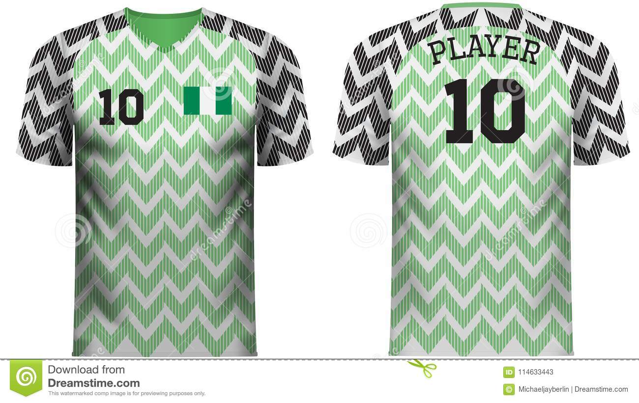 reputable site c8abb 5a9a7 Nigeria Fan Sports Tee Shirt In Generic Country Colors Stock ...