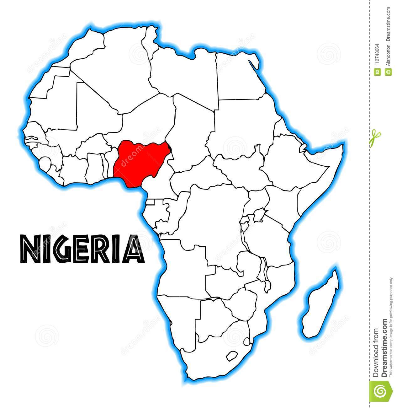 Map Of Nigeria Africa Nigeria African Map stock vector. Illustration of borders   112748664