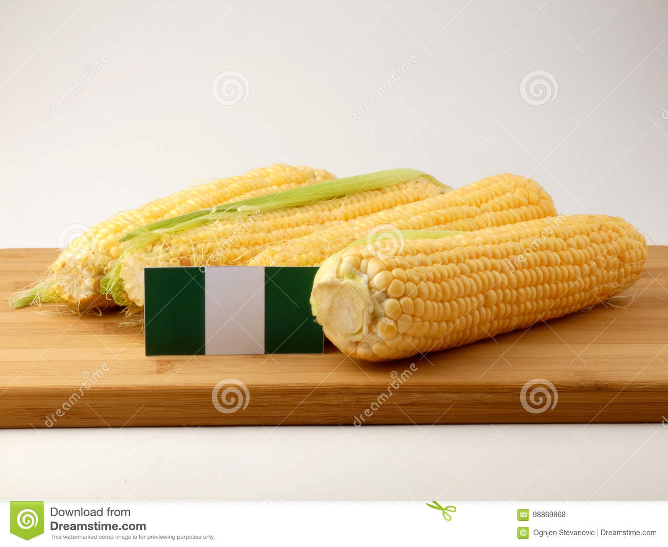 Download Nigerian Flag On A Wooden Panel With Corn Isolated On A White Ba Stock Photo - Image of corn, agriculture: 98869868