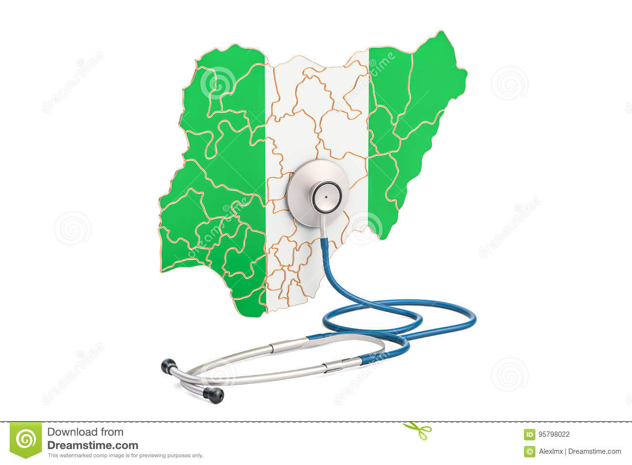 Nigerian map with stethoscope national health care concept 3d nigerian map with stethoscope national health care concept 3d ccuart Choice Image