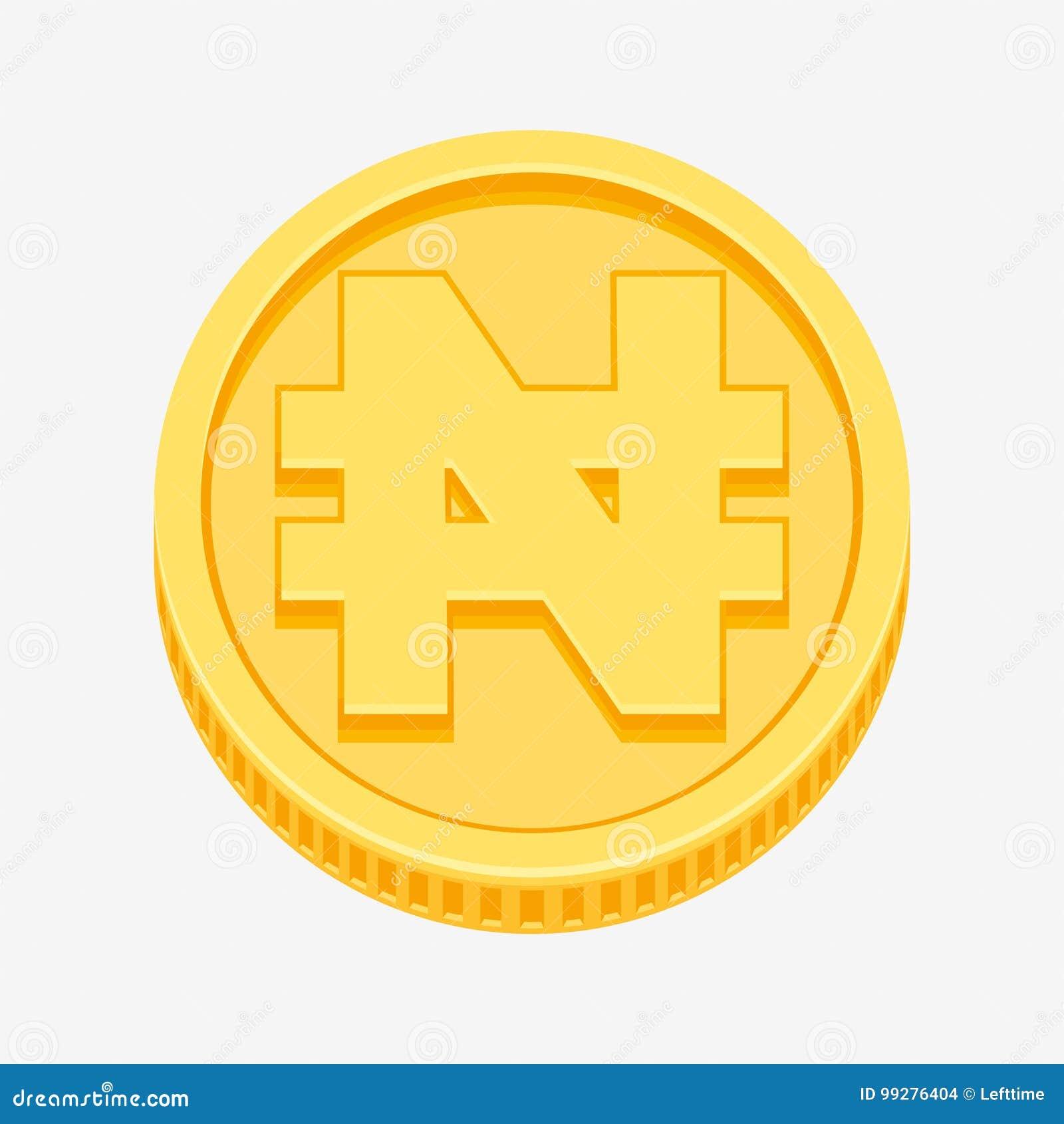 Nigerian Naira Symbol On Gold Coin Stock Vector Illustration Of