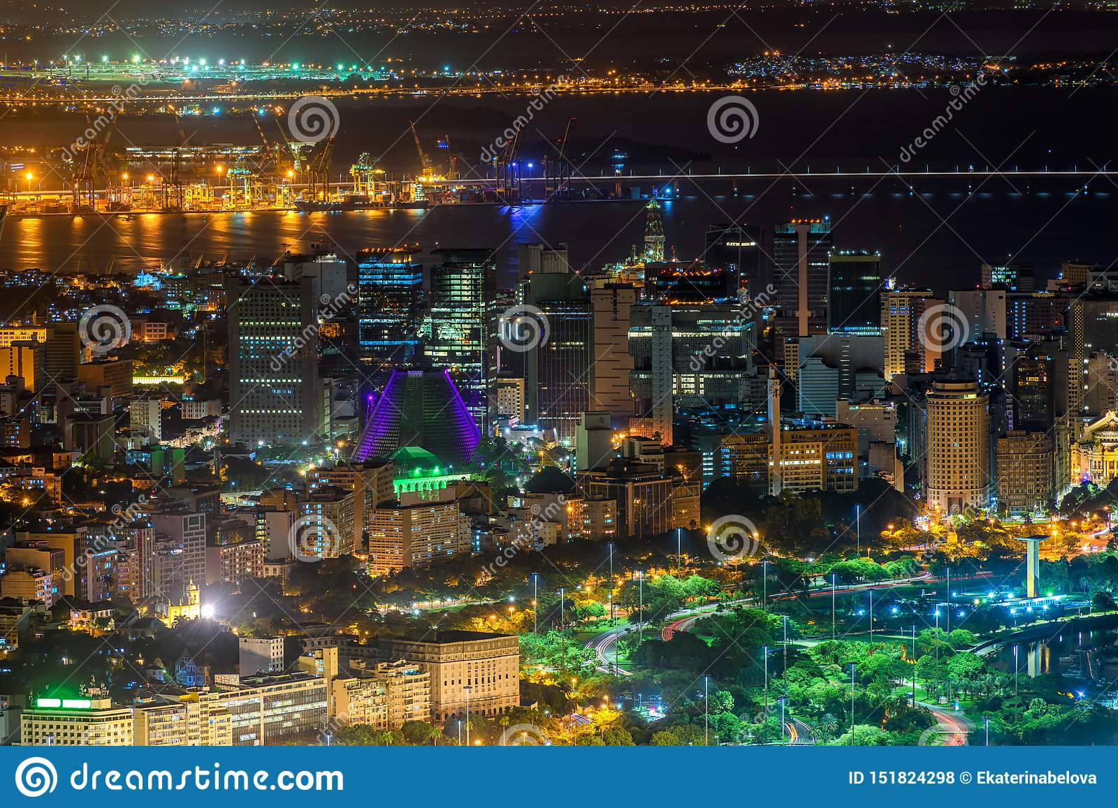 Night aerial view of Centro, Lapa and Сathedral in Rio de Janeiro