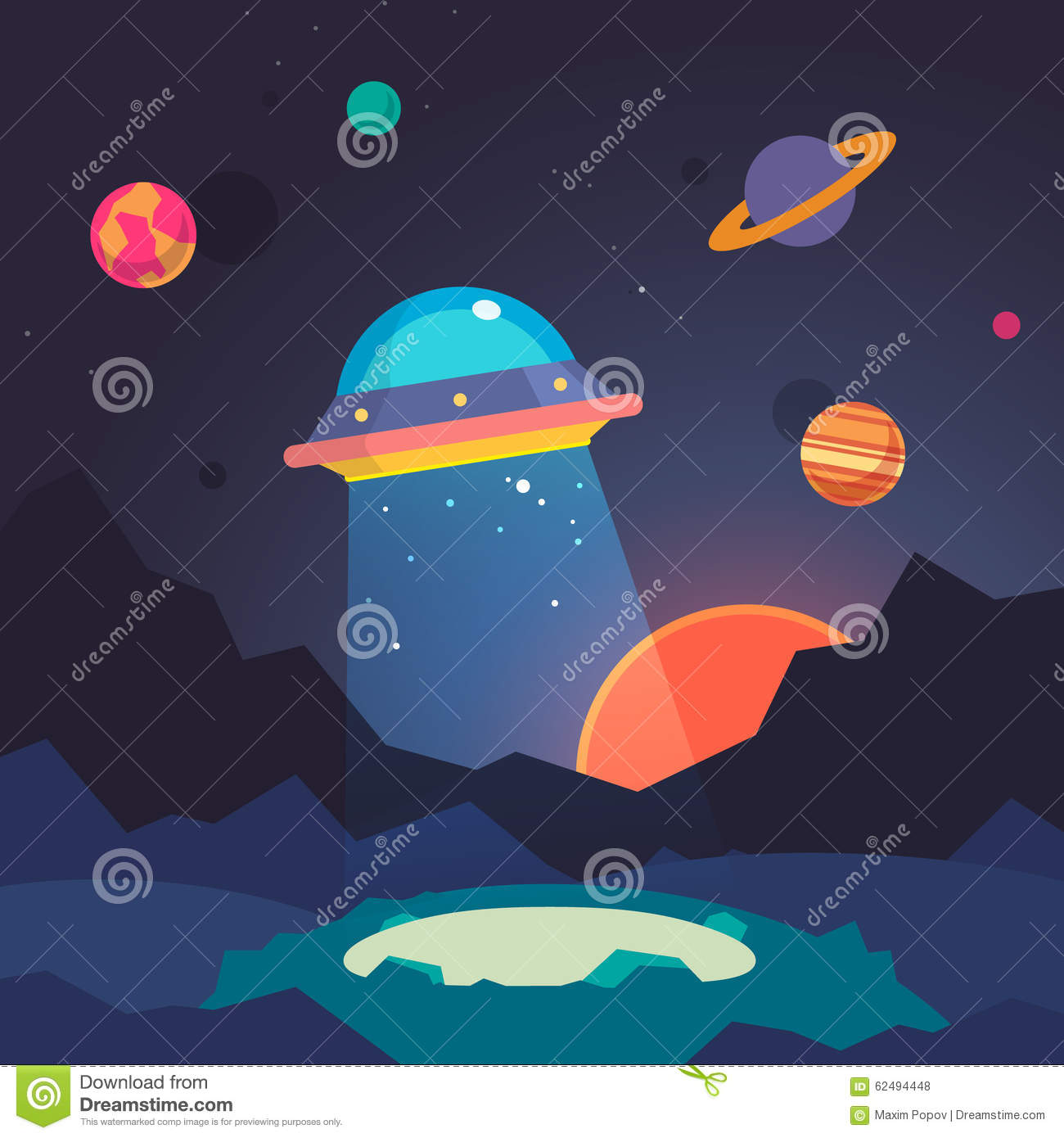 Night Alien World Landscape And Ufo Spaceship Stock Vector