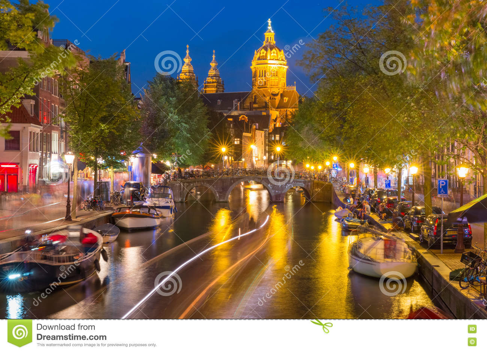 red light district amsterdam night