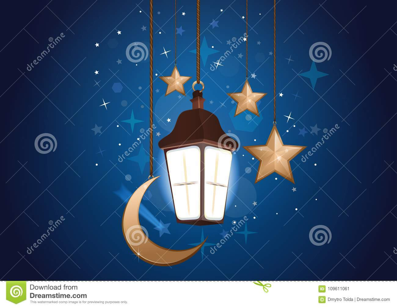 Night background with moon, stars and lantern