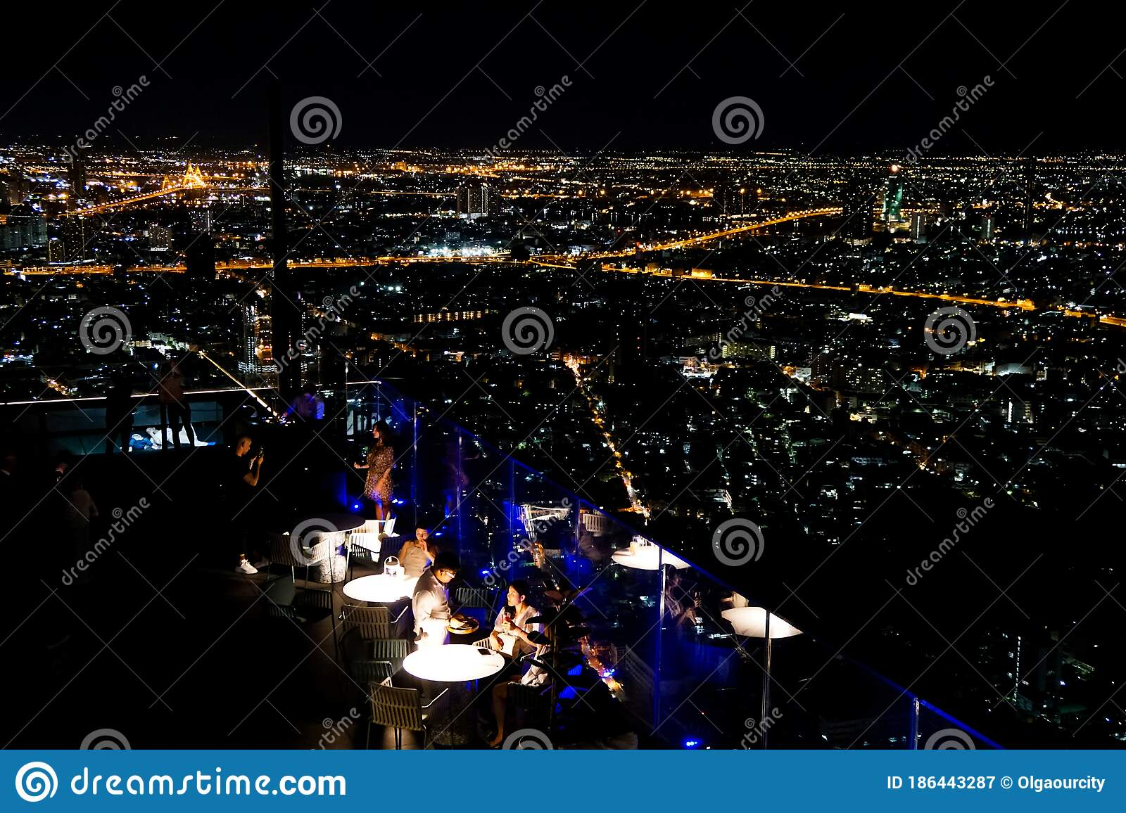 Night Bangkok From Hight Skyscraper Rooftop Restaurant Stock Image Image Of King City 186443287