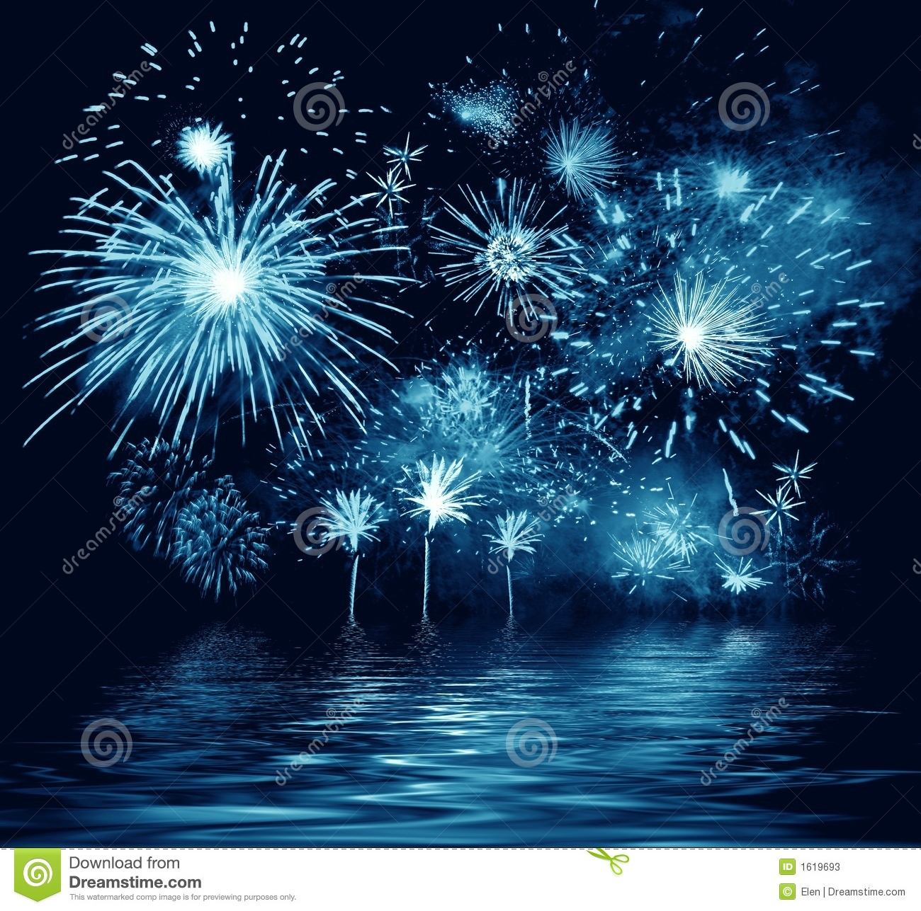 Night blue firework. Illustration