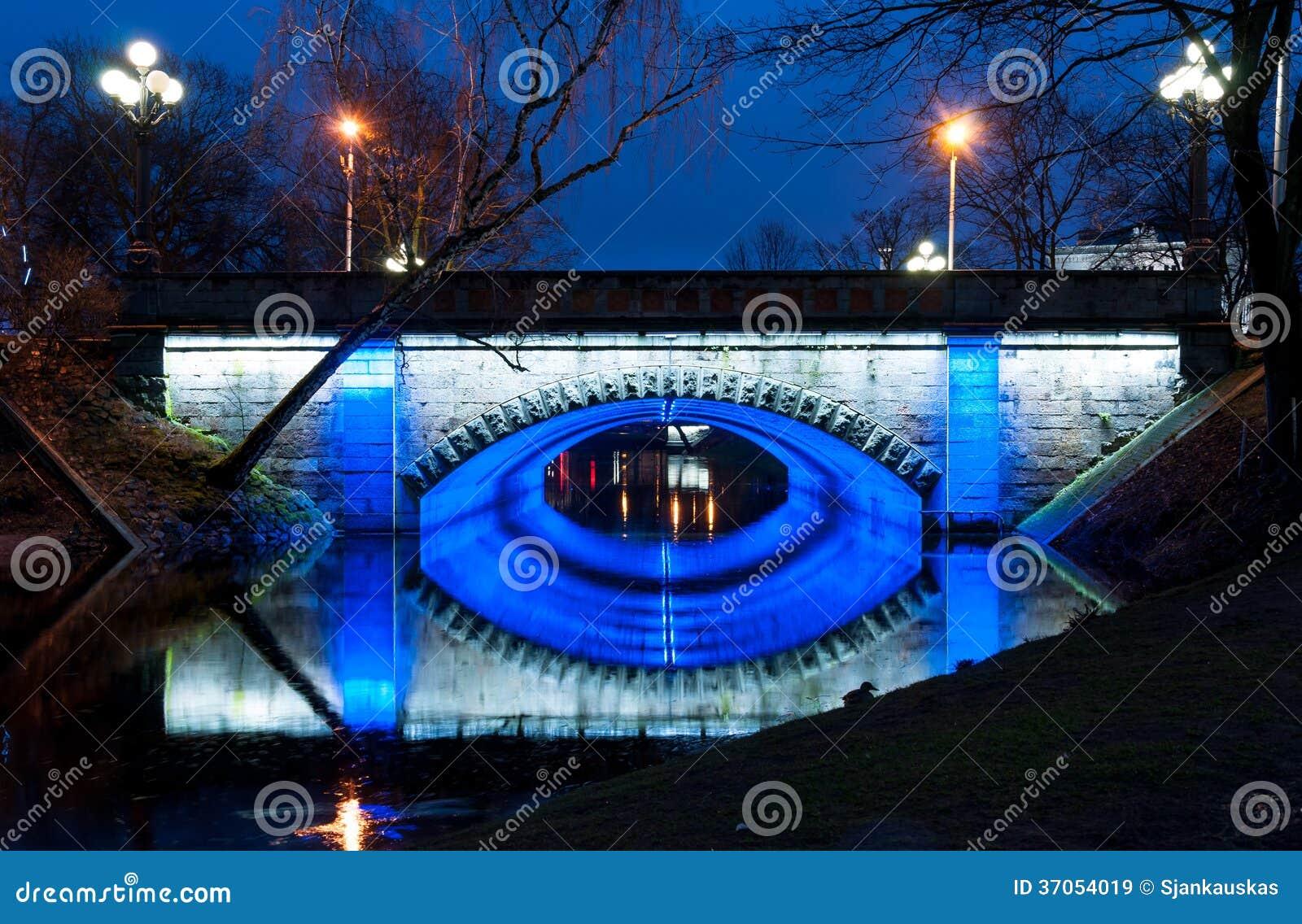 Night bridge in Riga park