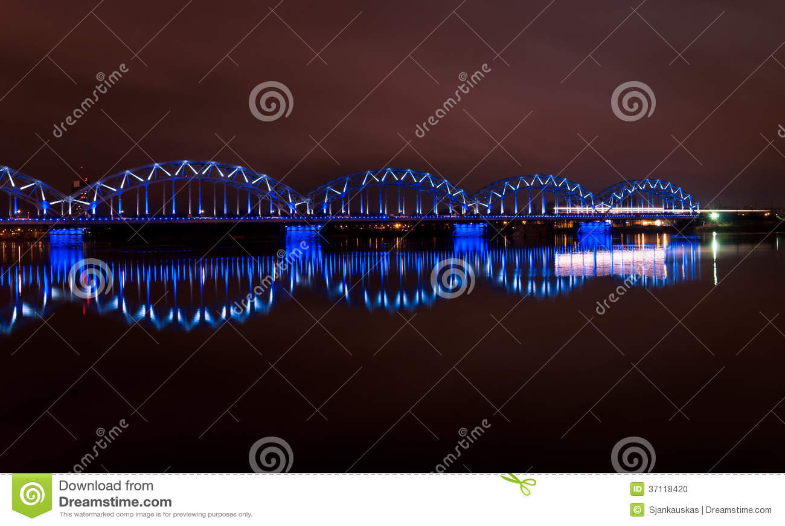 Download Night bridge in Riga stock photo. Image of daugava, dark - 37118420