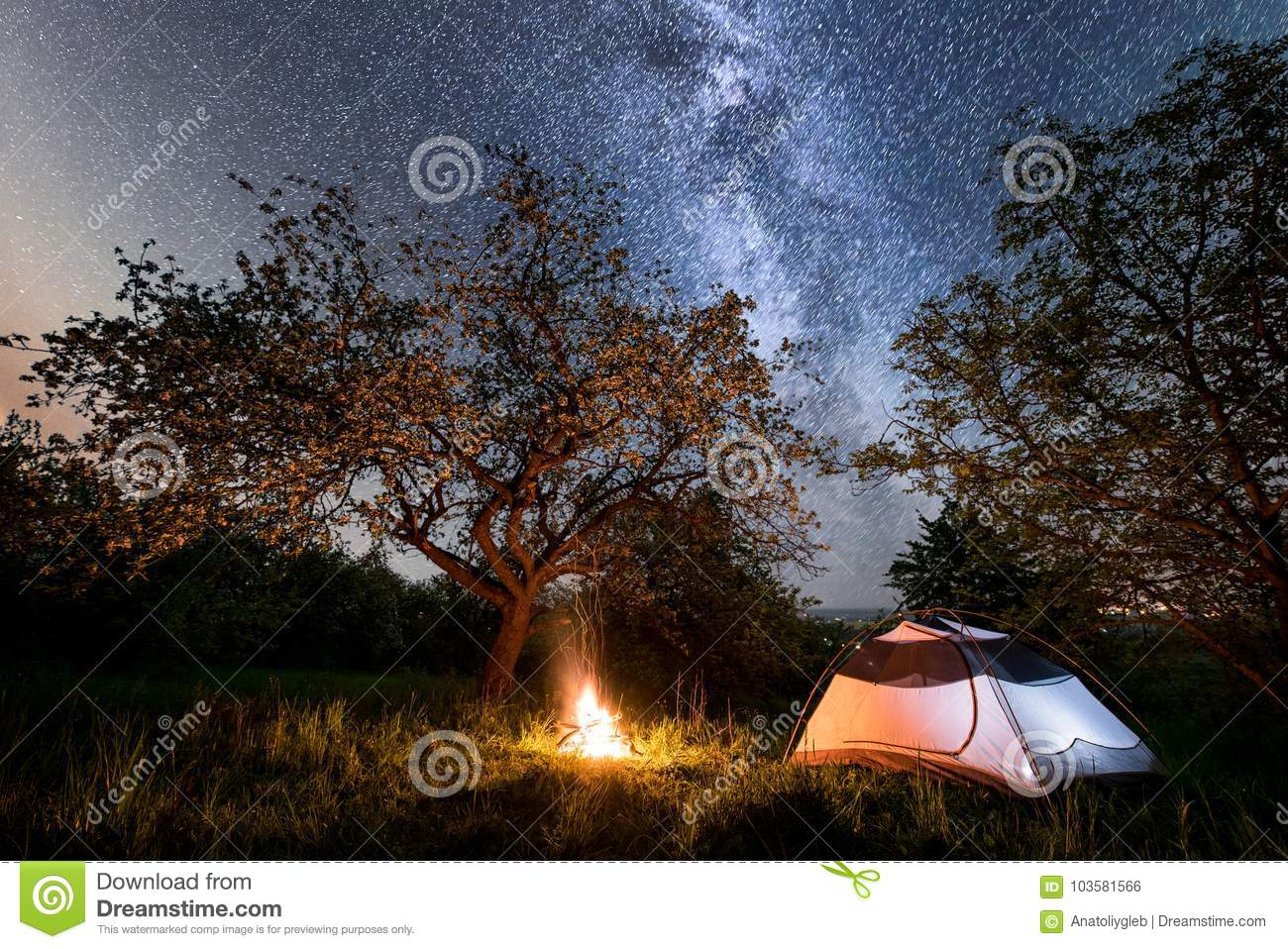 Night camping. tourist tent near campfire under trees and beautiful starry sky and milky way