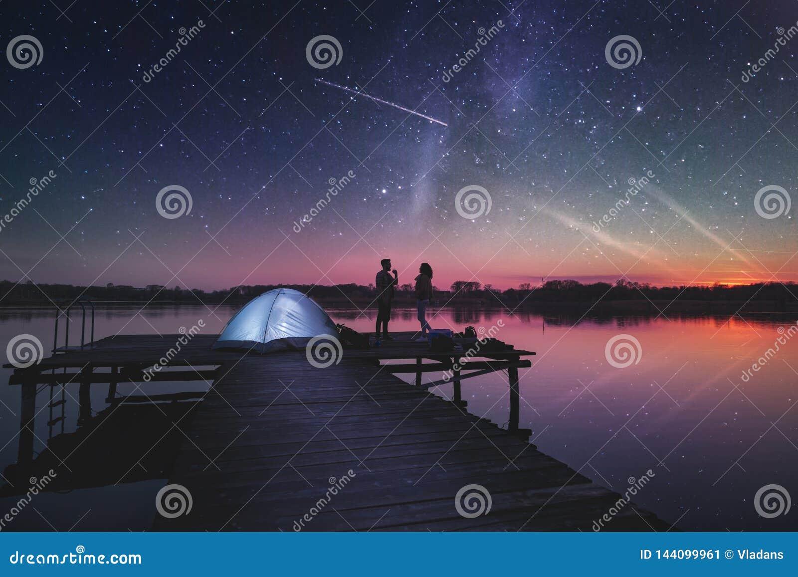 Night camping on the lake