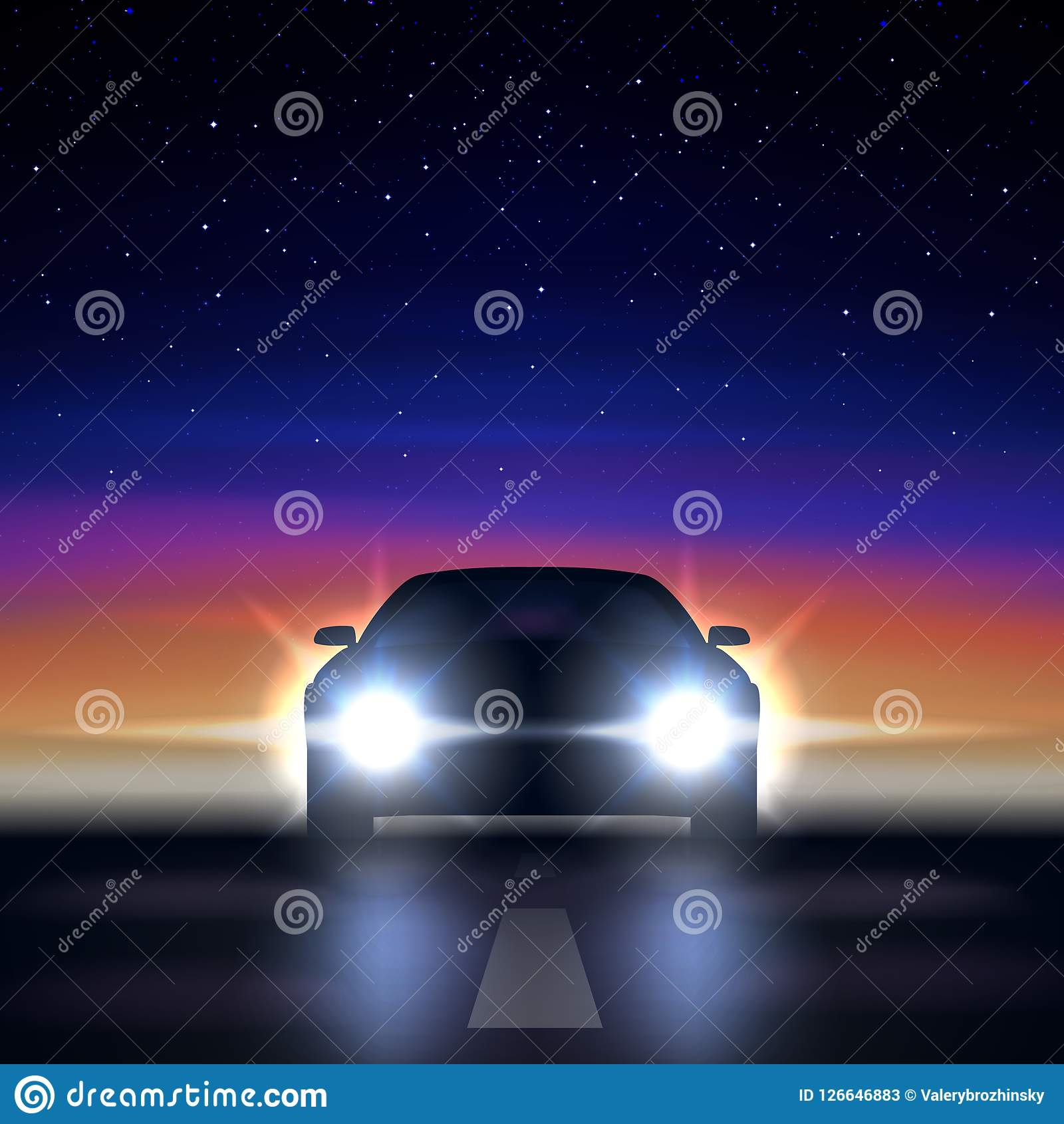 0a188c2083 Night car with headlights against the background of a colorful starry sky