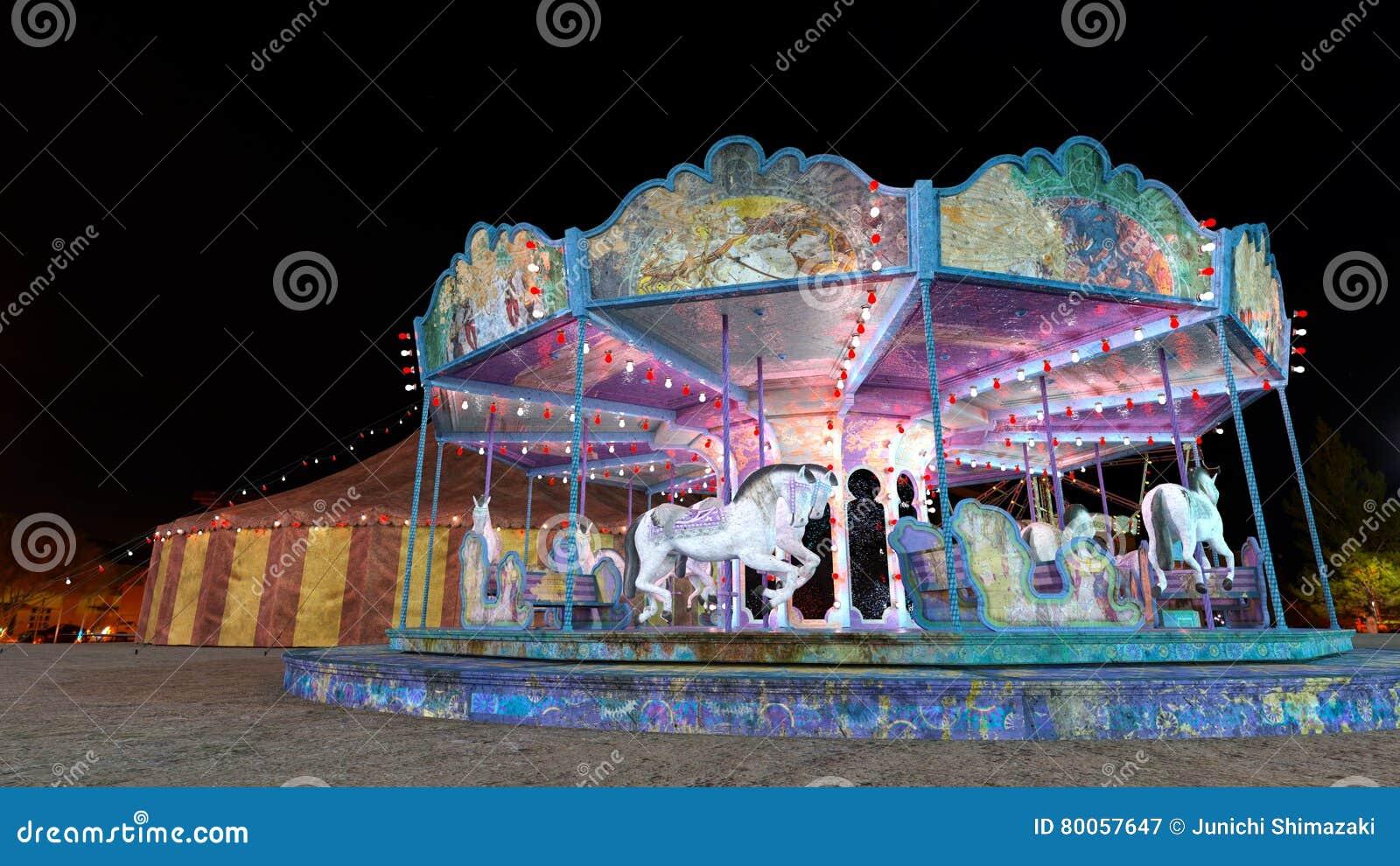 Night carnival stock image  Image of park, carousel, vehicle
