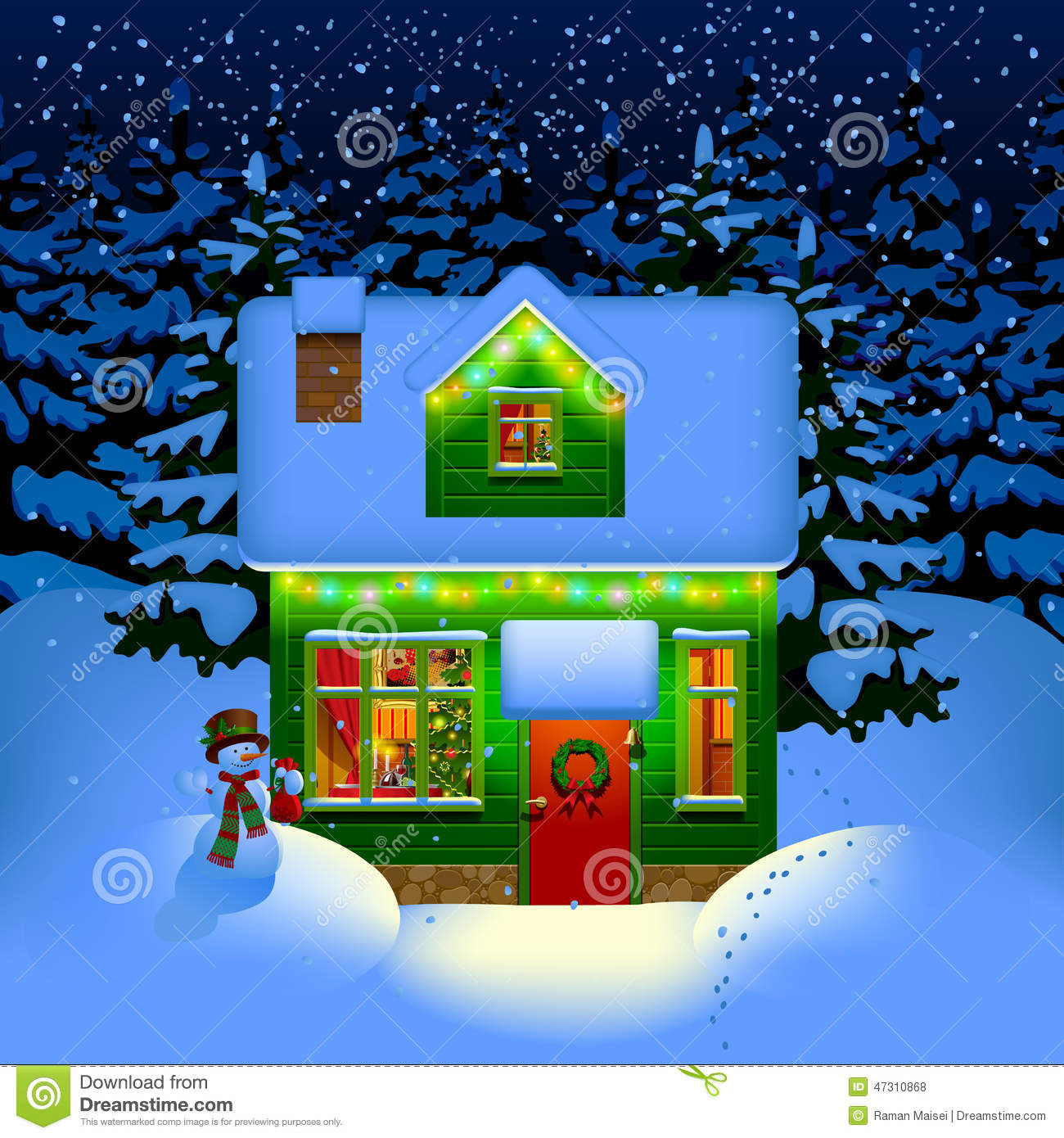 royalty free vector download night christmas house - Christmas House Pictures