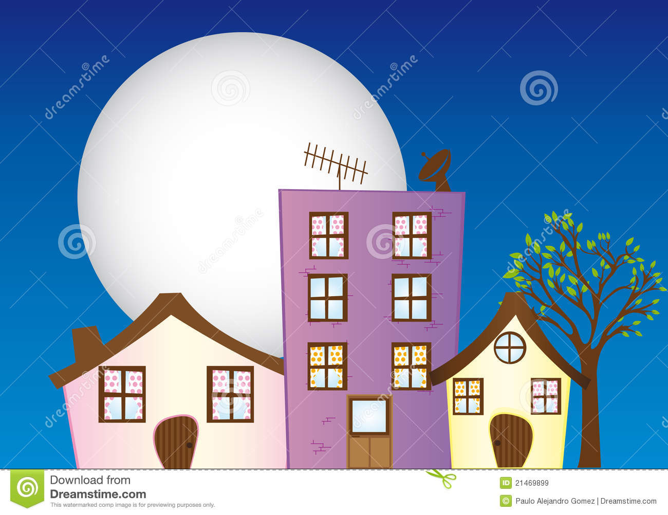 Night City Cartoon Royalty Free Stock Images - Image: 21469899
