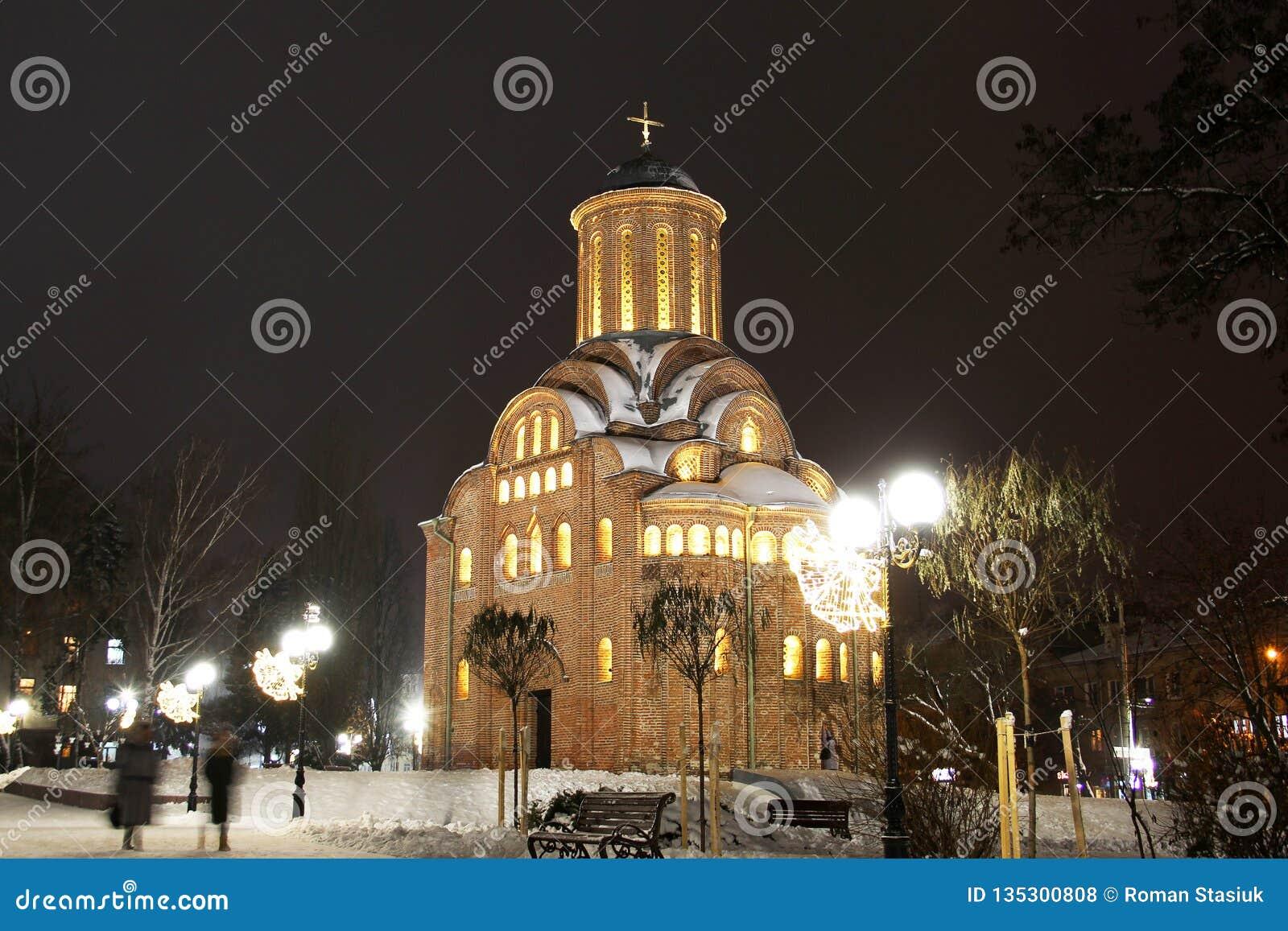 Church in the winter. Night city