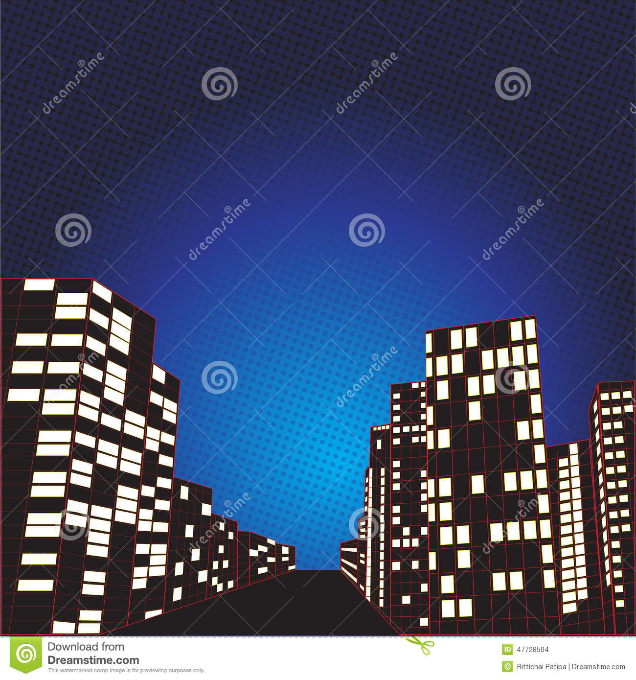 Night City Comic Background Stock Vector - Image: 47728504