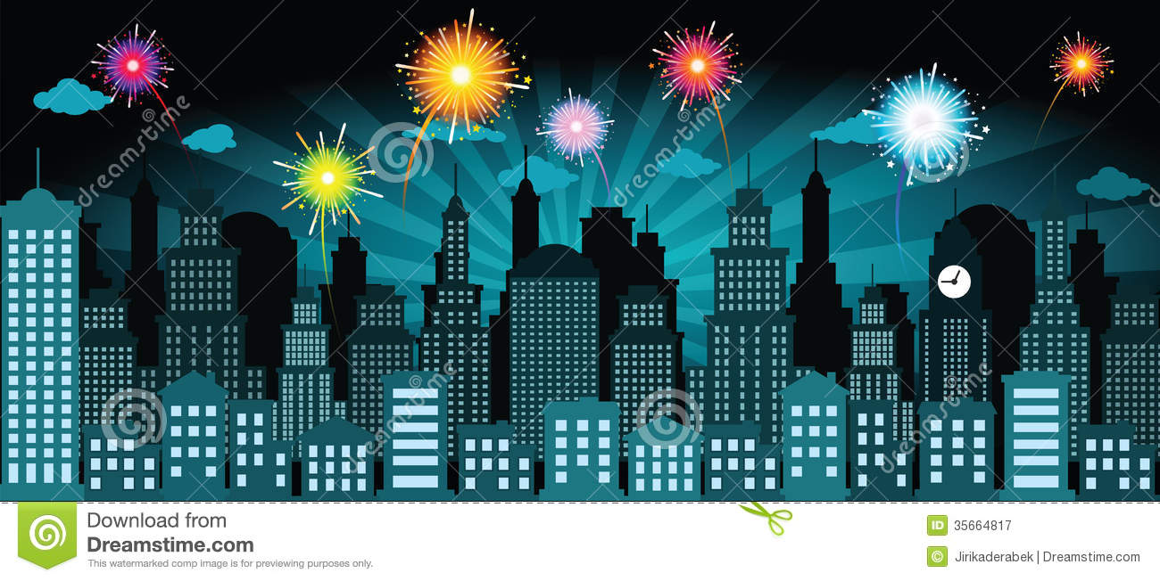 Night city and fireworks