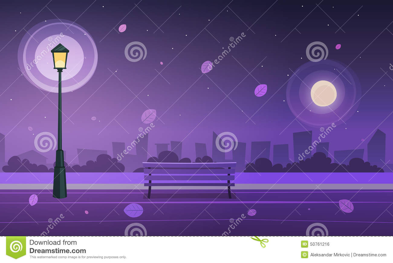 Night in city park stock vector. Illustration of ...