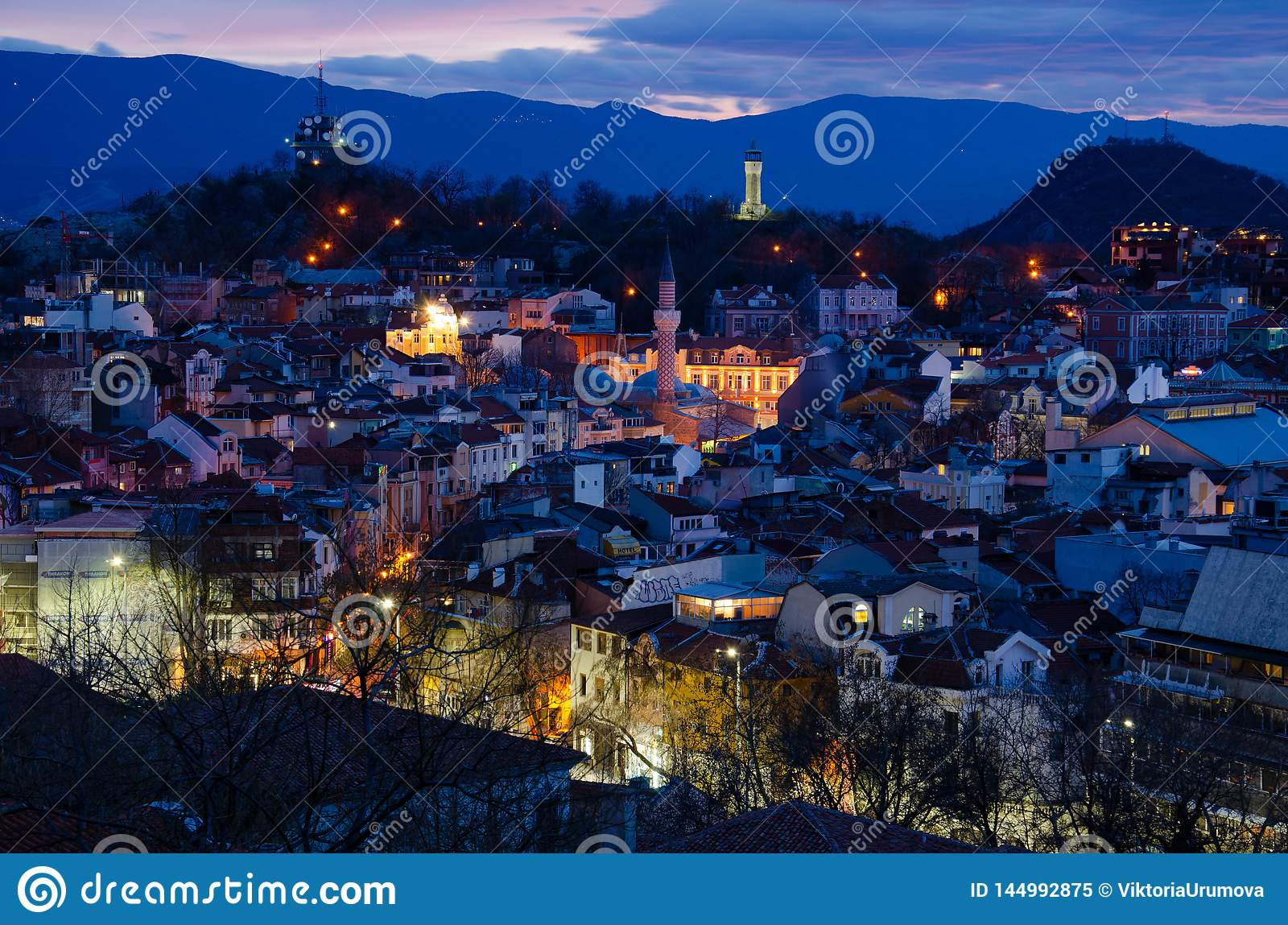 Night city Plovdiv, Bulgaria. View from one of the hills