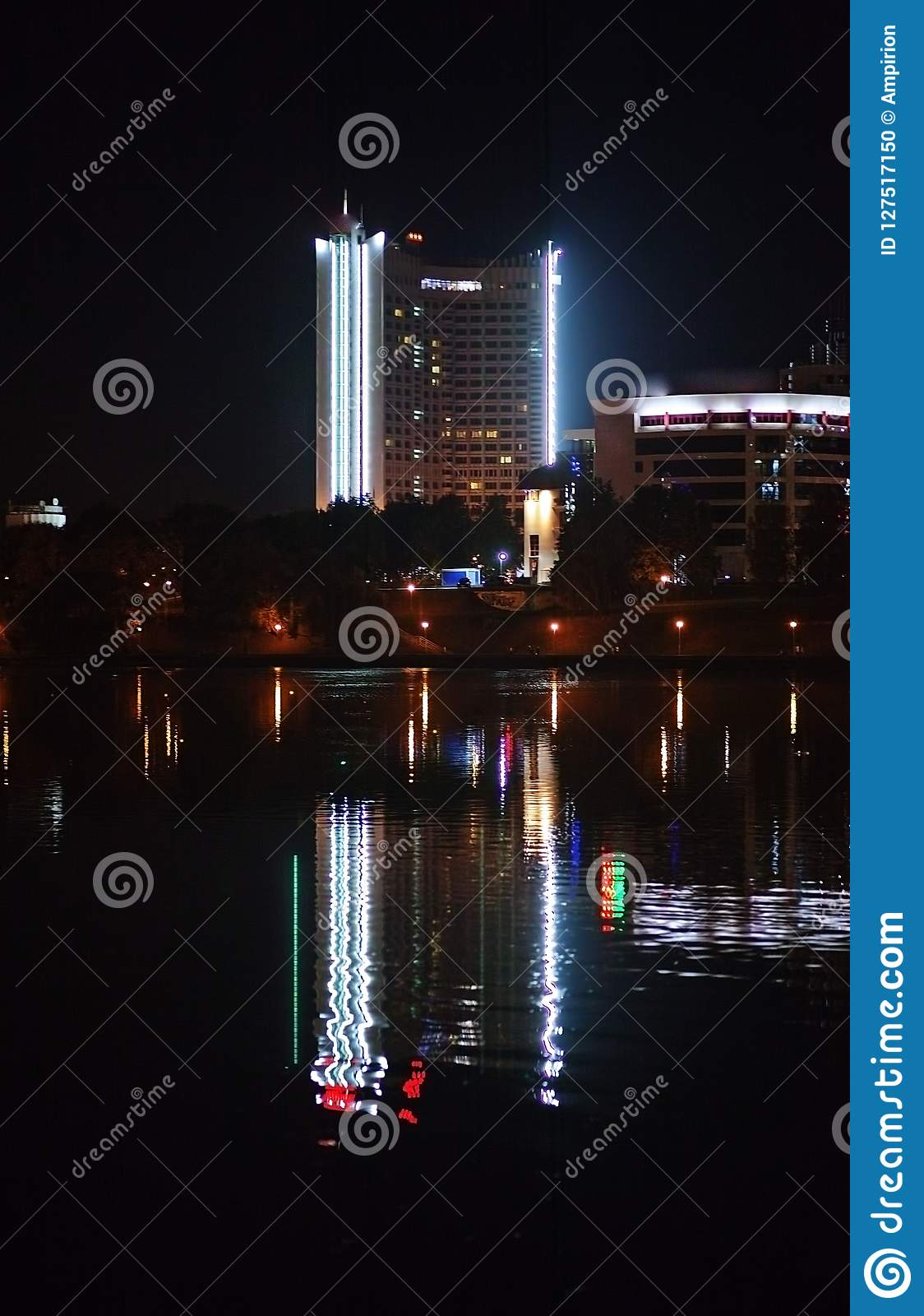 Night City By The River Beautiful View Of The Metropolis