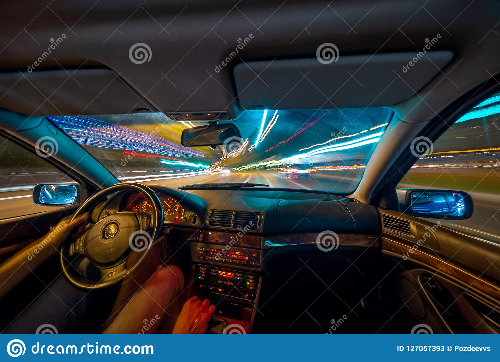 Night City Road View From Inside Car Stock Image Image Of Driveway