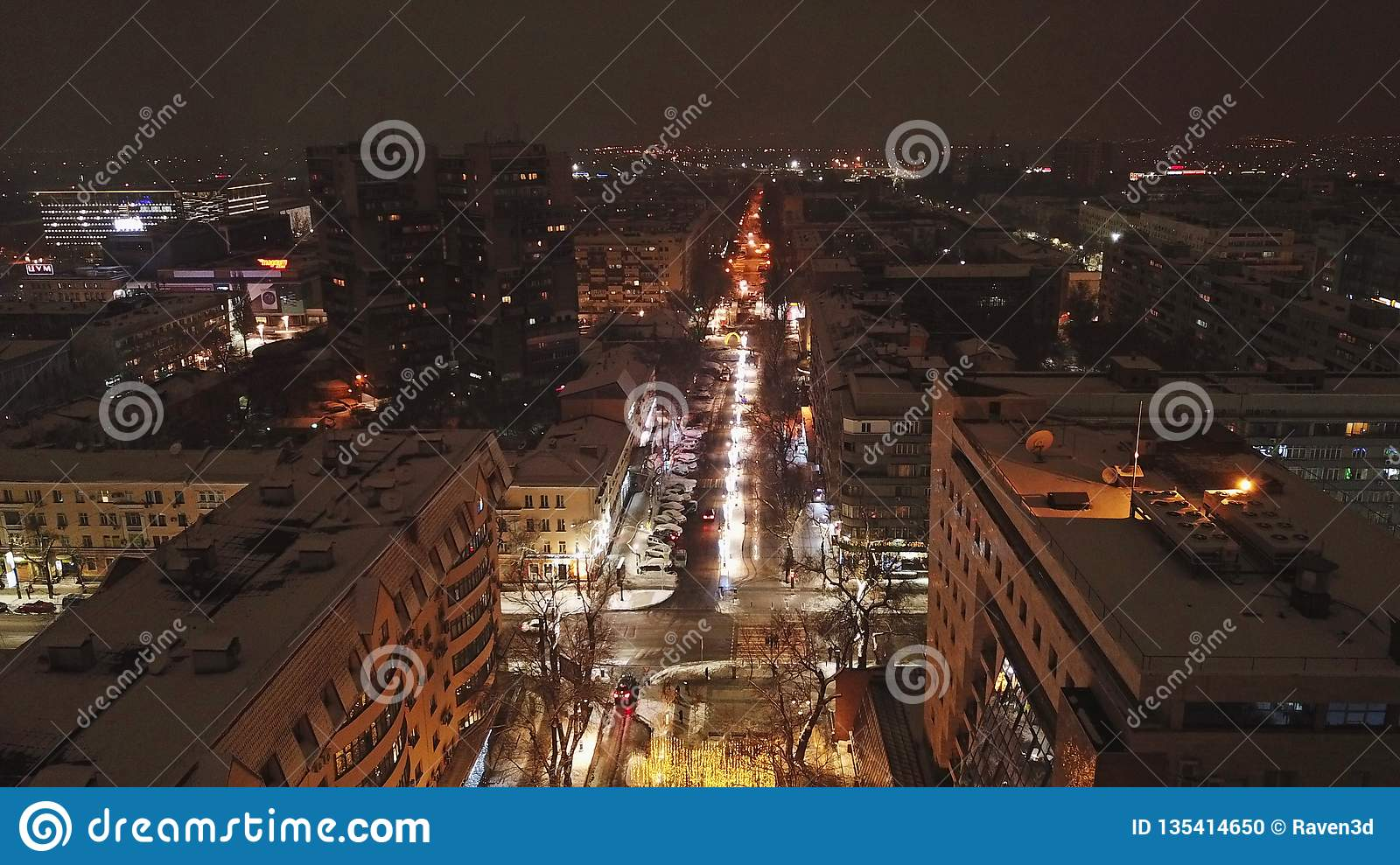 Night City Shooting With The Drone Of The Air Bright Streets Lights Roads Stock Photo Image Of Kazakhstan Covered 135414650
