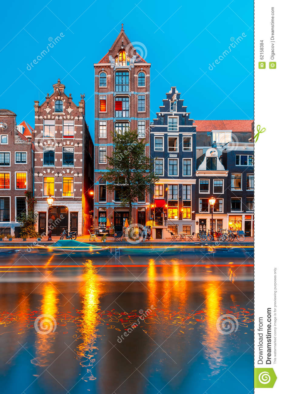 Night city view of amsterdam canal herengracht stock photo for Herengracht amsterdam
