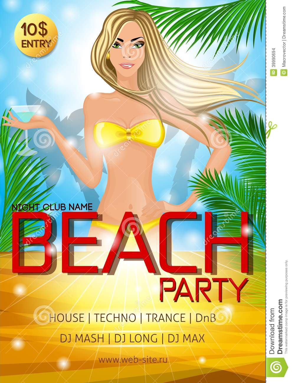 Night Club Beach Party Poster Stock Vector Image 39990694