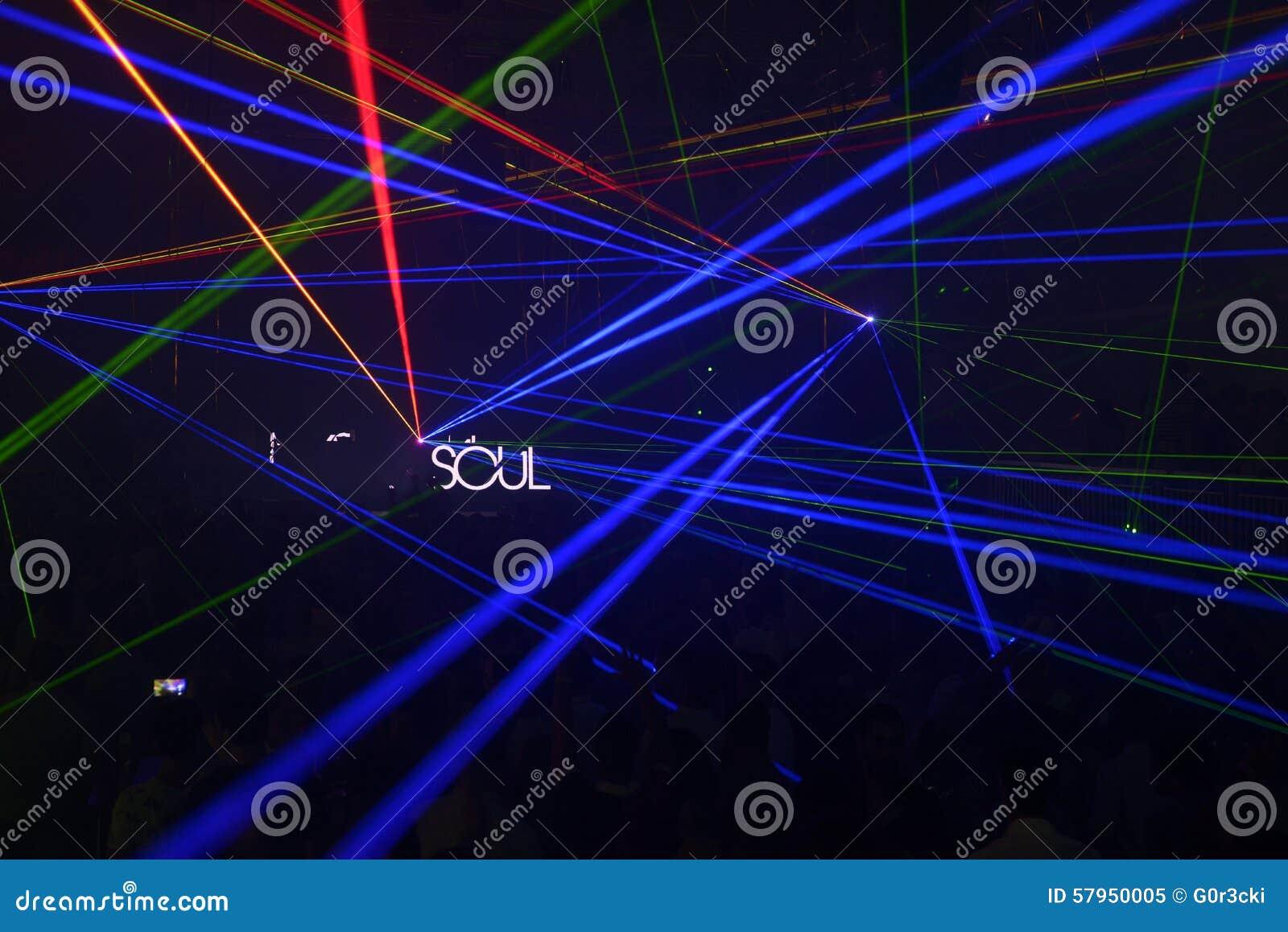Rave Music, Colorful Lazer Lights, Night Club Soul Stock