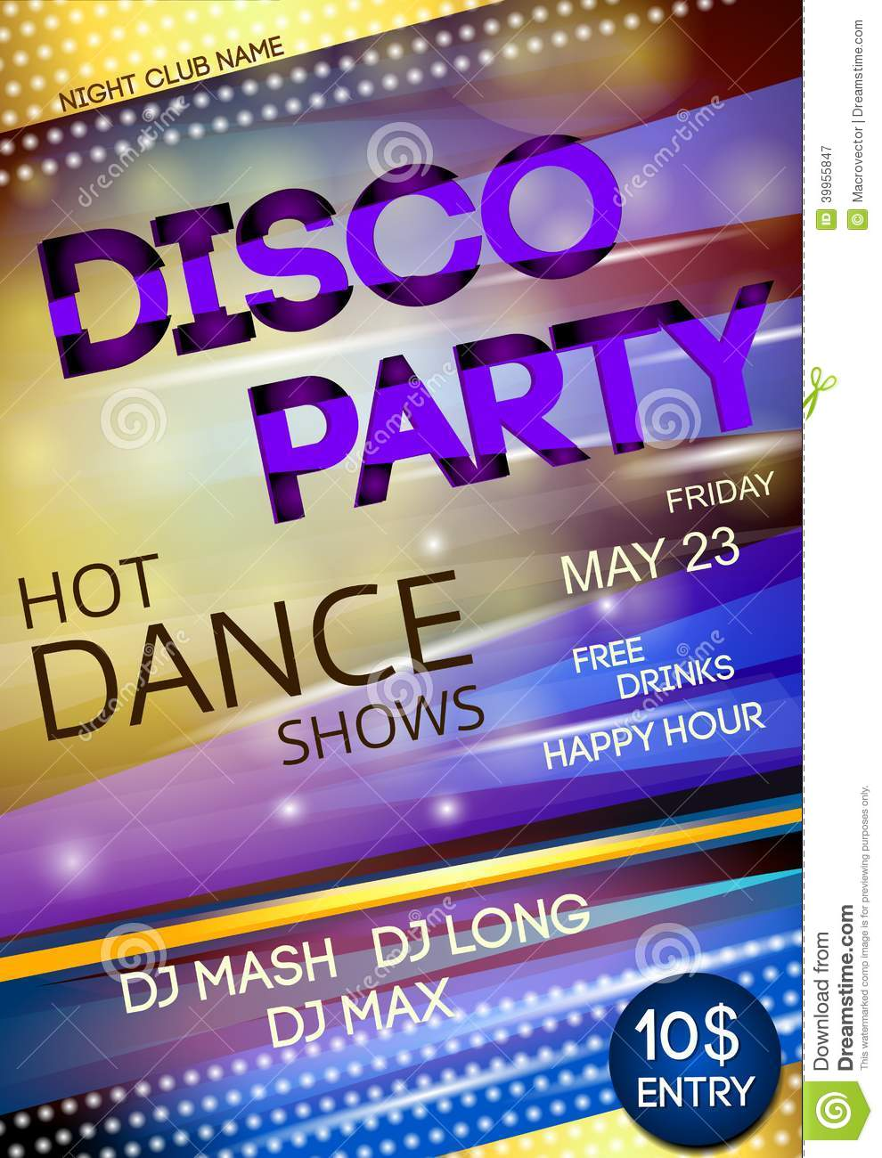 Night Club Disco Party Poster Stock Vector - Image: 39955847